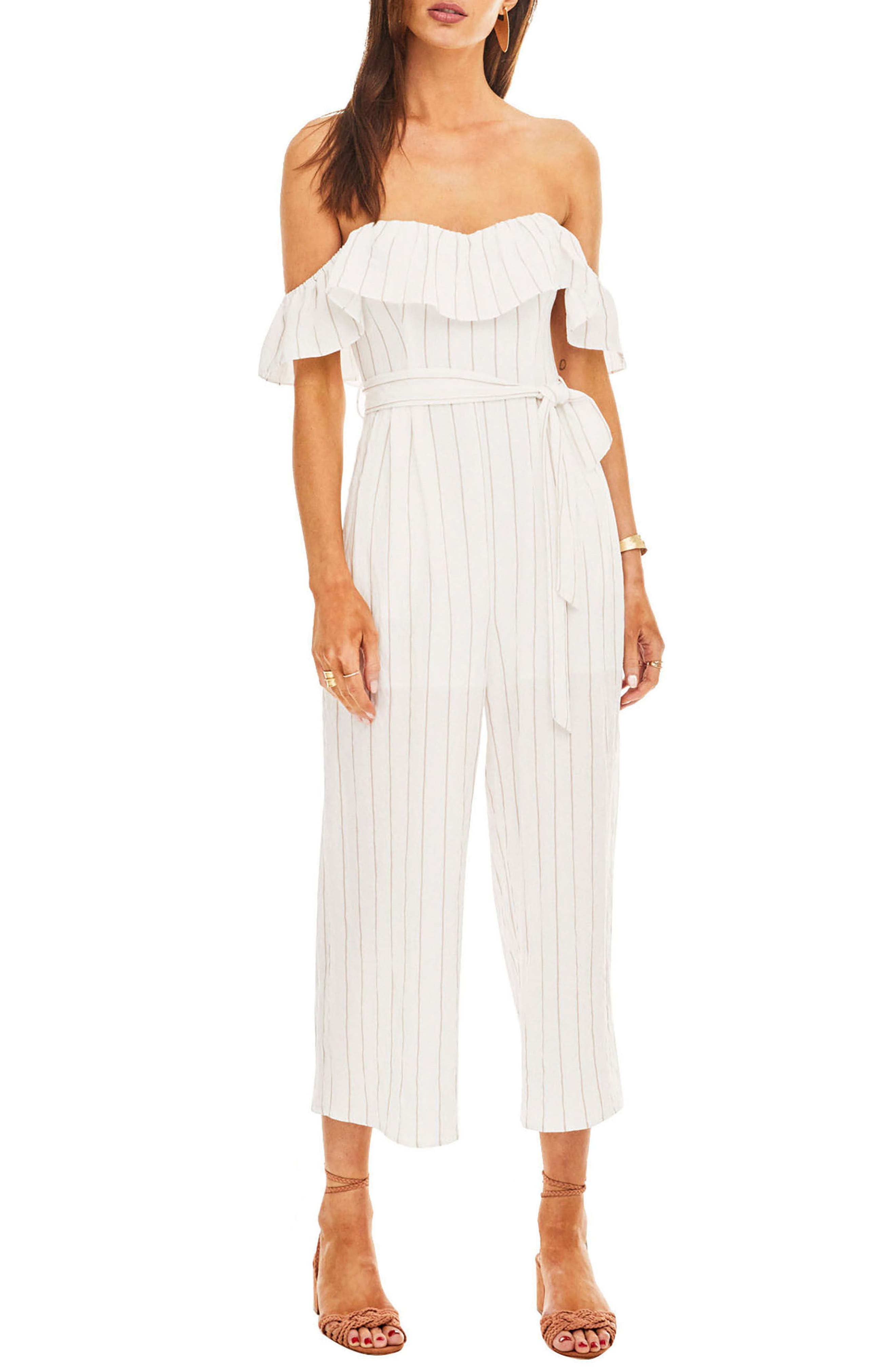 ASTR Keely Strapless Jumpsuit,                         Main,                         color, White-Taupe Stripe