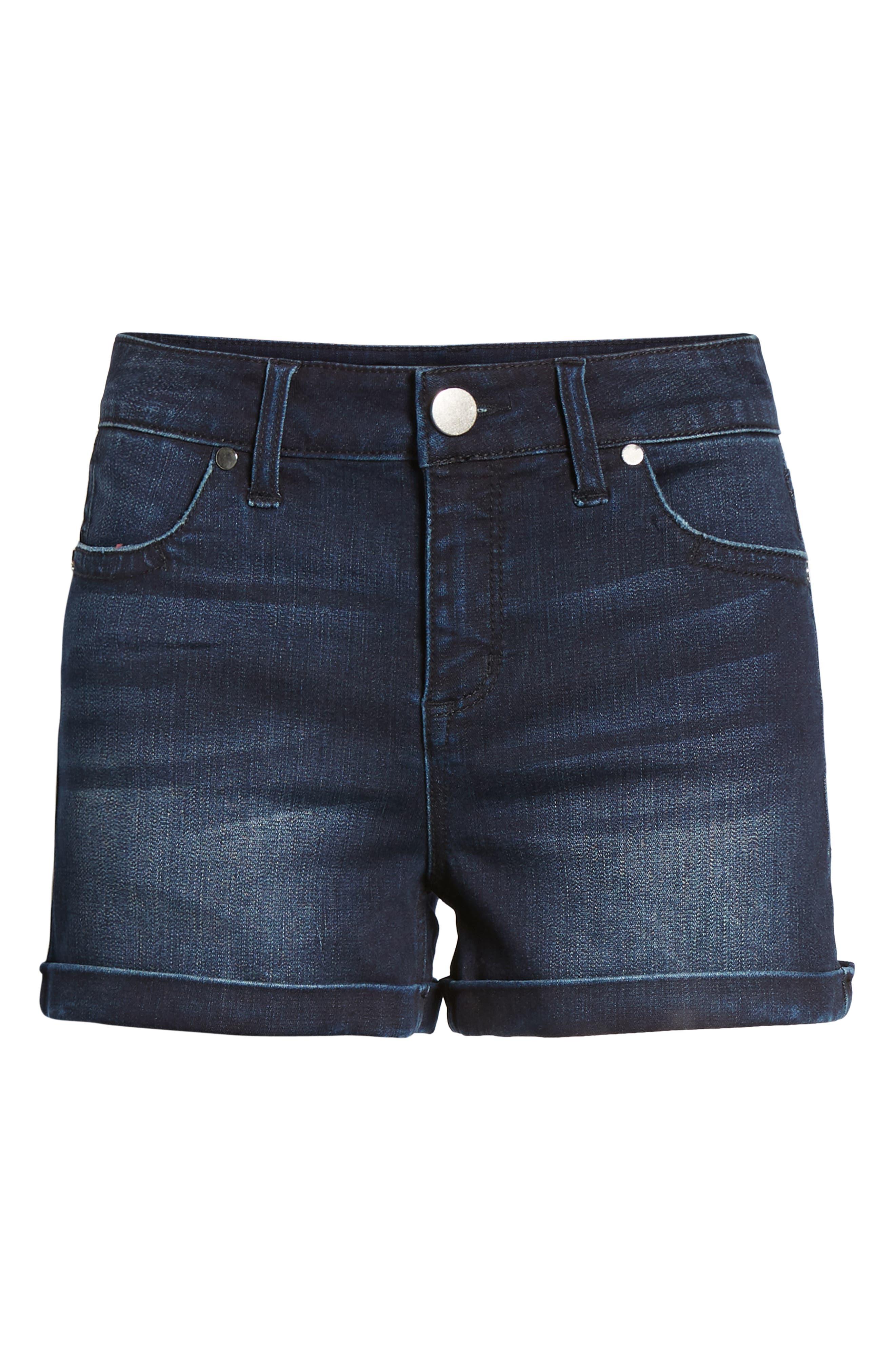Cuffed Denim Shorts,                             Alternate thumbnail 7, color,                             Dark Wash