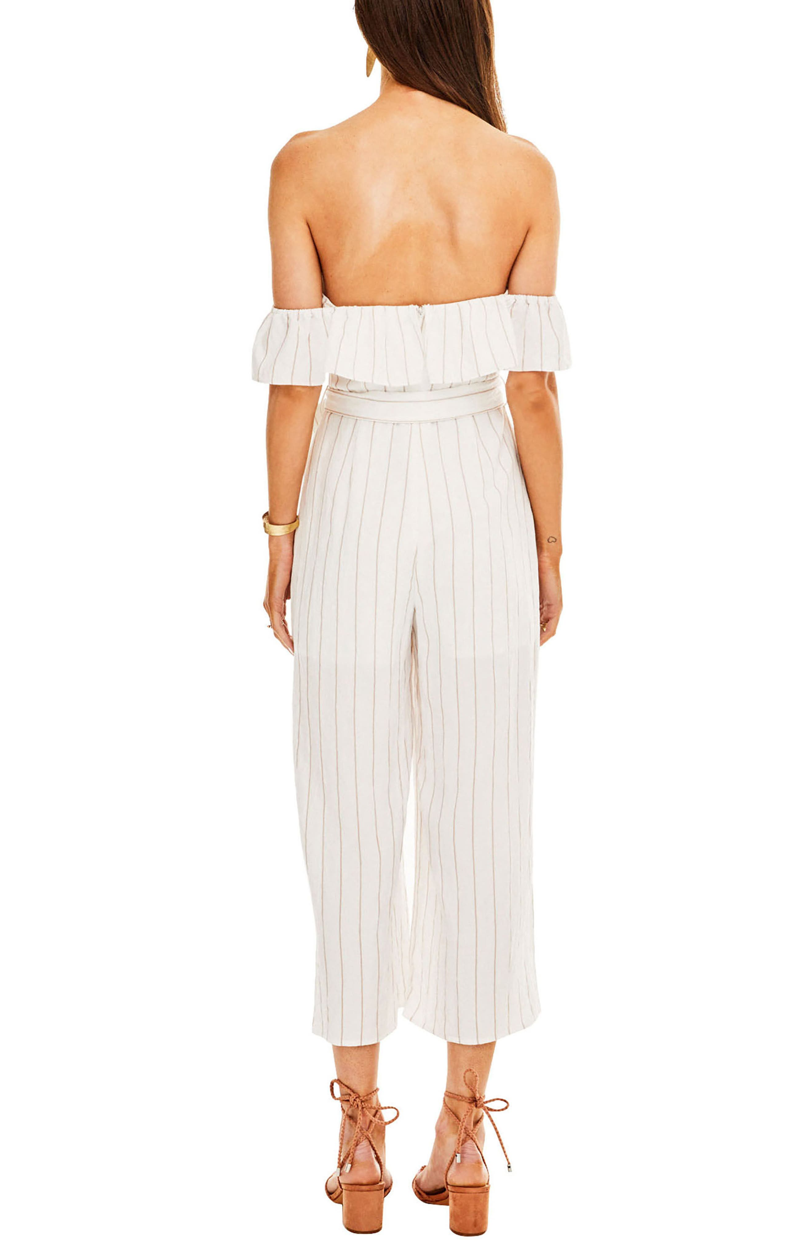 ASTR Keely Strapless Jumpsuit,                             Alternate thumbnail 2, color,                             White-Taupe Stripe
