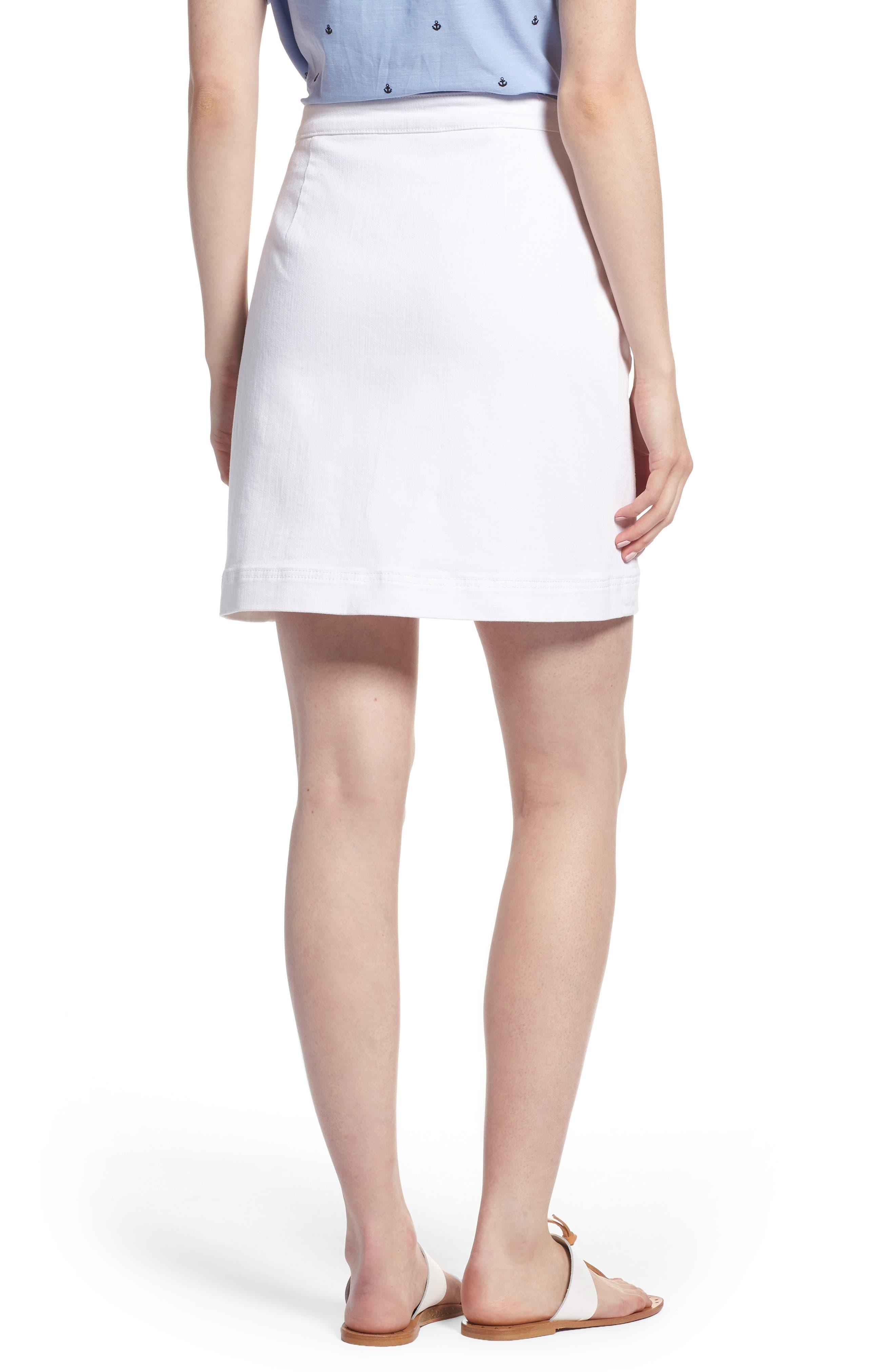Sailor Button White Denim Skirt,                             Alternate thumbnail 2, color,                             White