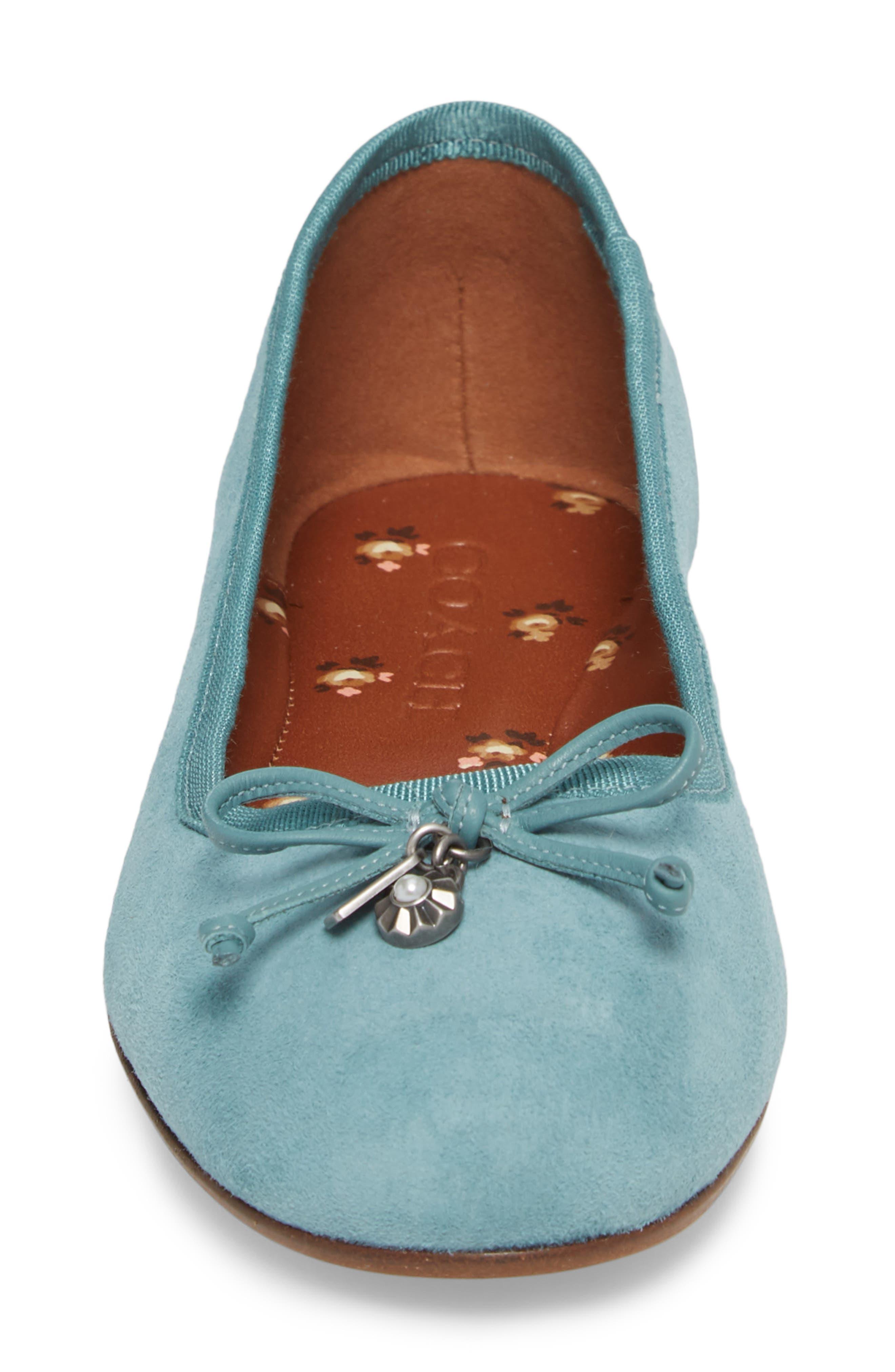 Lola Ballet Flat,                             Alternate thumbnail 4, color,                             Marine Leather