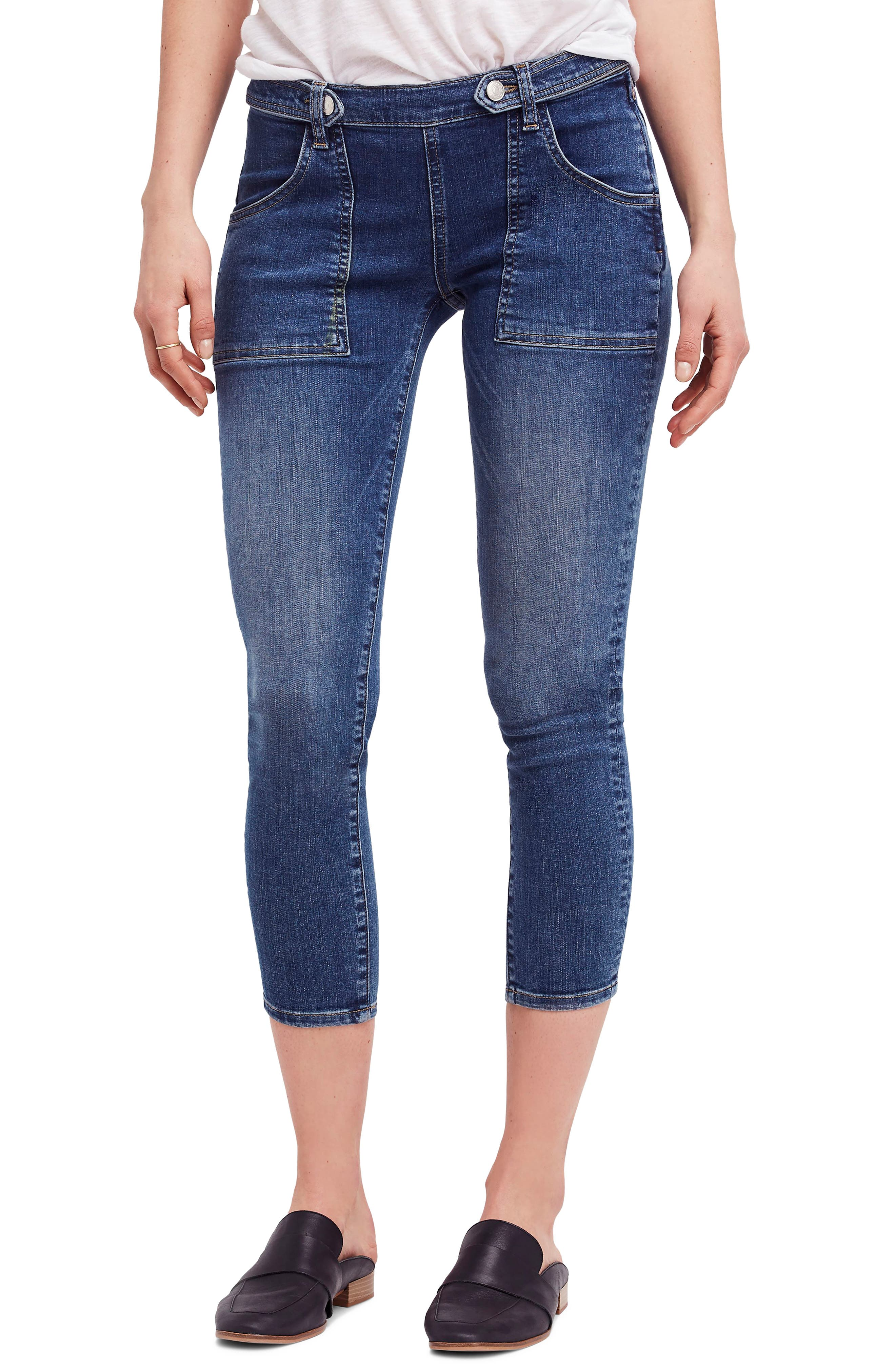 We the Free by Free People Stratford Skinny Jeans,                             Main thumbnail 1, color,                             Blue