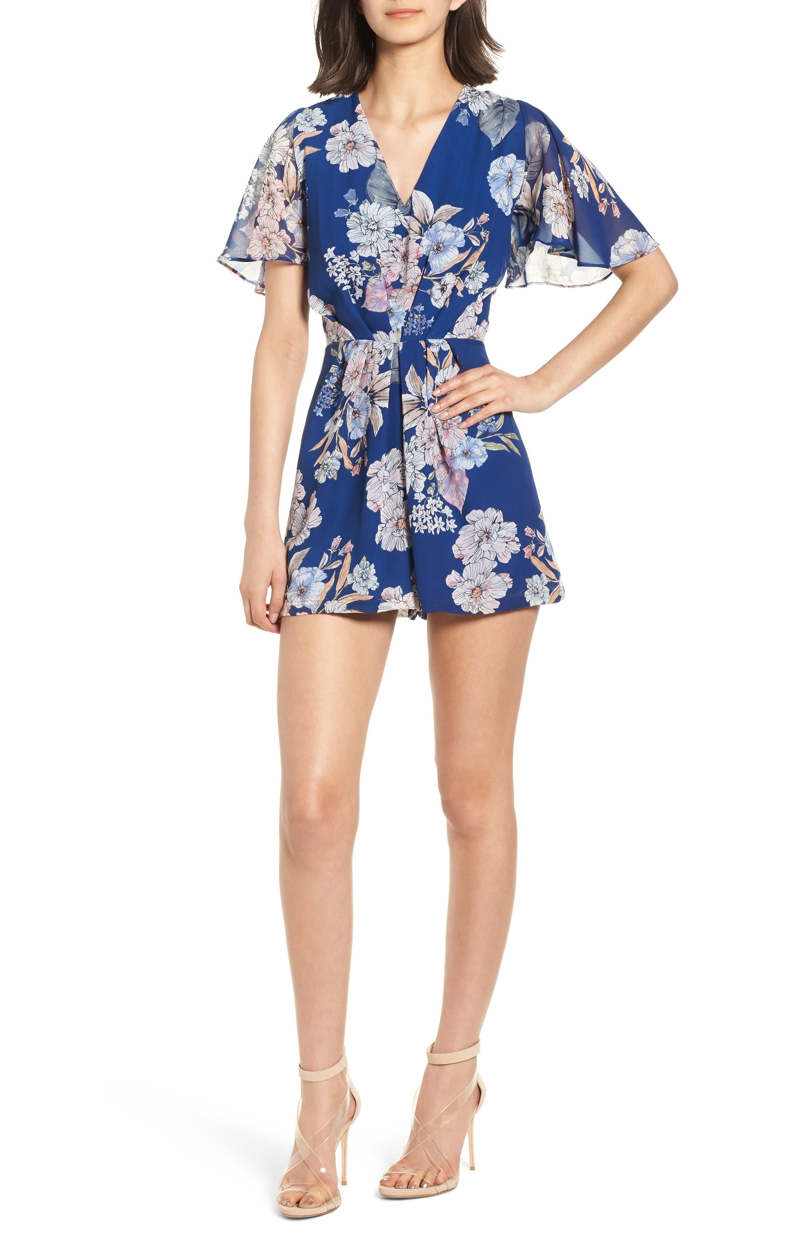 Starlet Romper,                         Main,                         color, Blue Floral