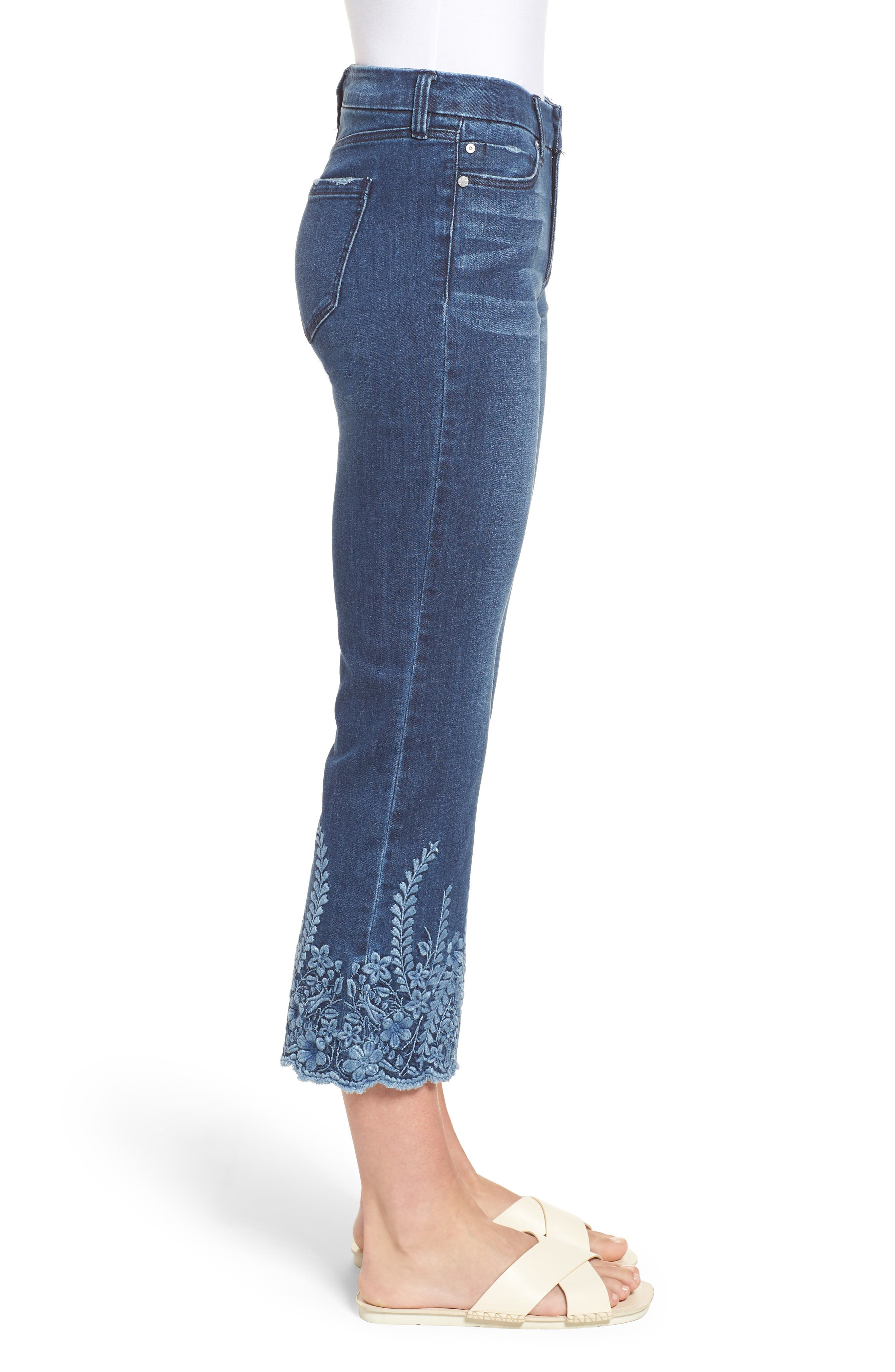 LVPL by Liverpool Coco Embroidered Hem Crop Jeans,                             Alternate thumbnail 4, color,                             Willow Wash