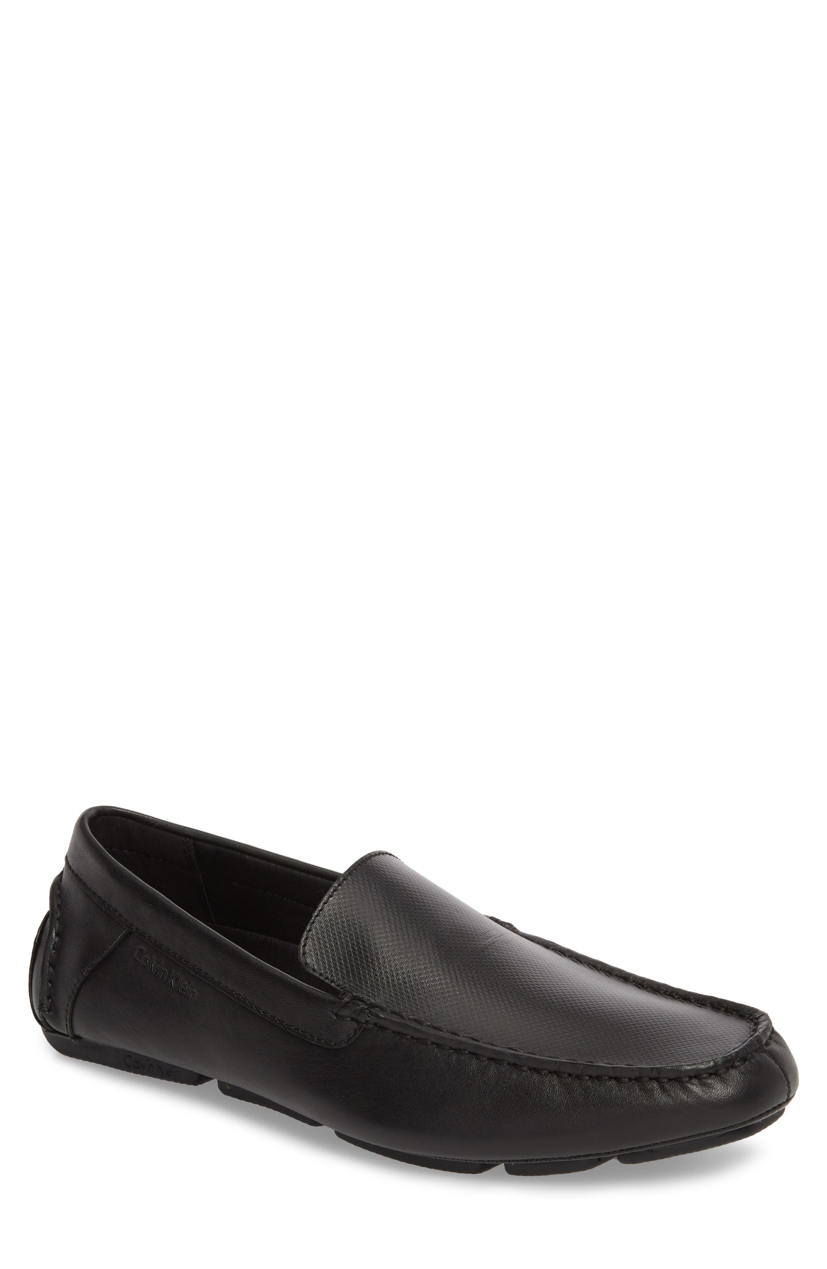 Miguel Textured Driving Loafer,                         Main,                         color, Black Leather