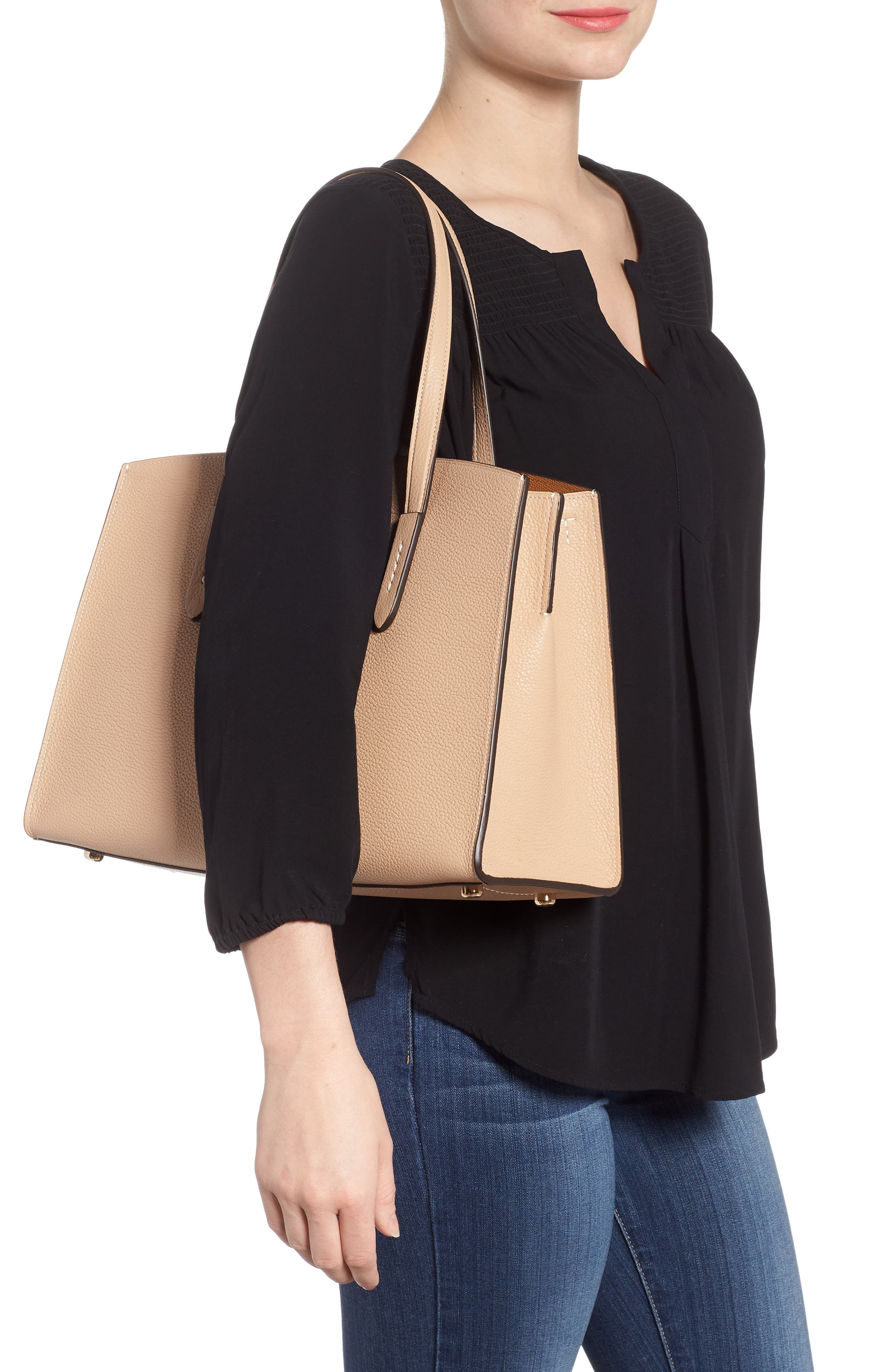 Charlie Leather Tote,                             Alternate thumbnail 2, color,                             Beechwood