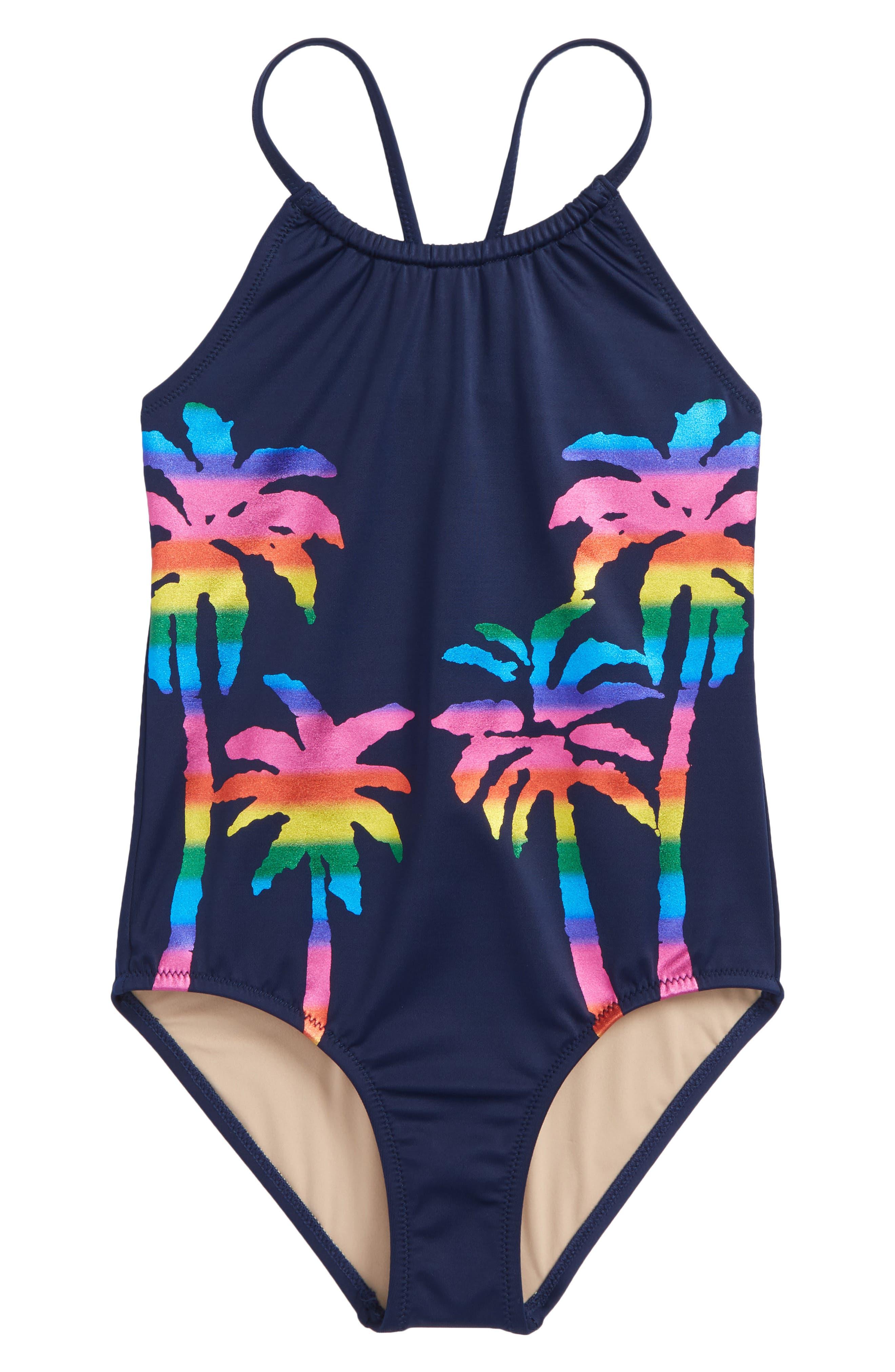 Foil Palm Trees One-Piece Swimsuit,                         Main,                         color, Rainbow Multi