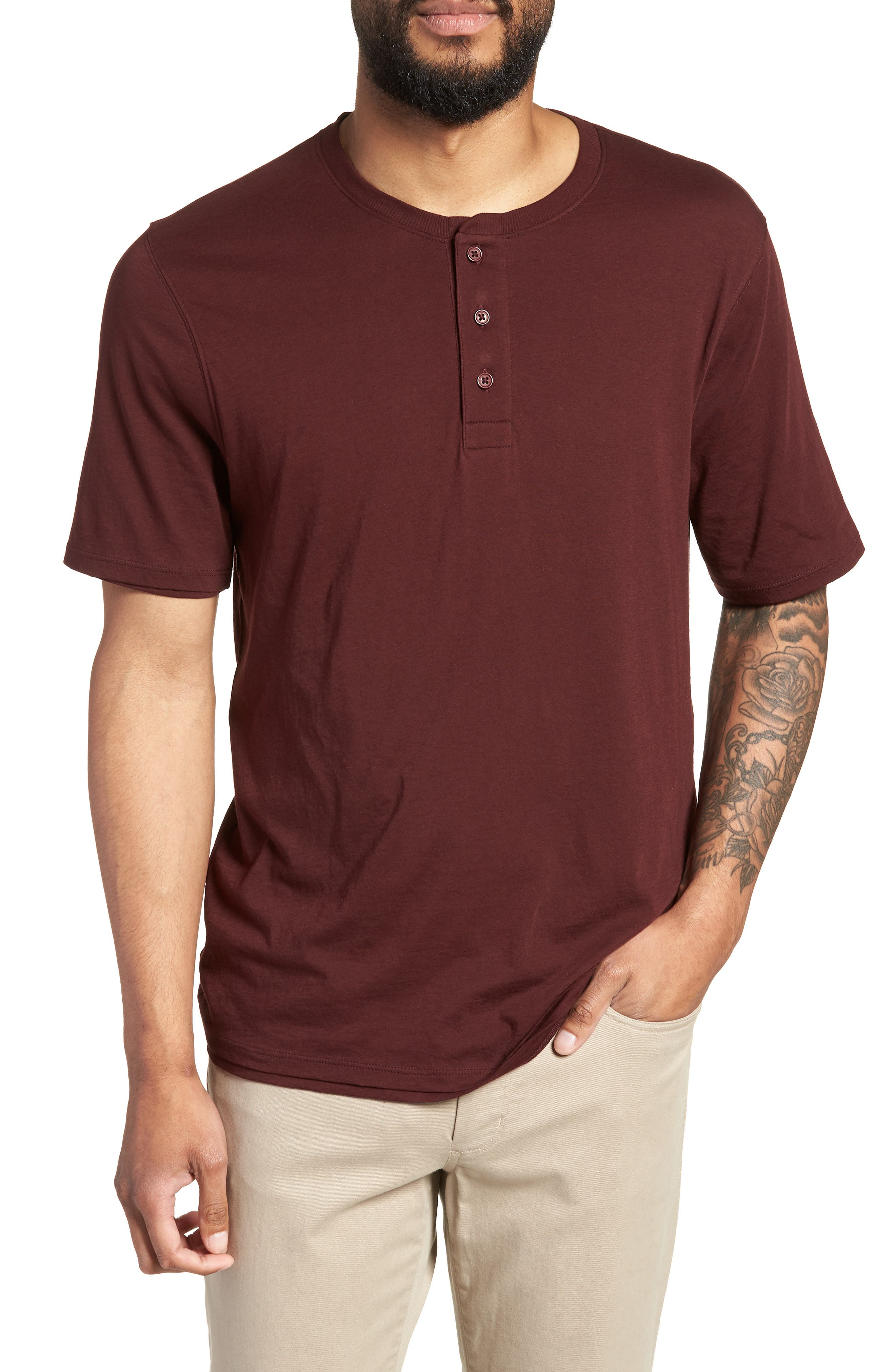 Layered Henley T-Shirt,                         Main,                         color, Black Cherry