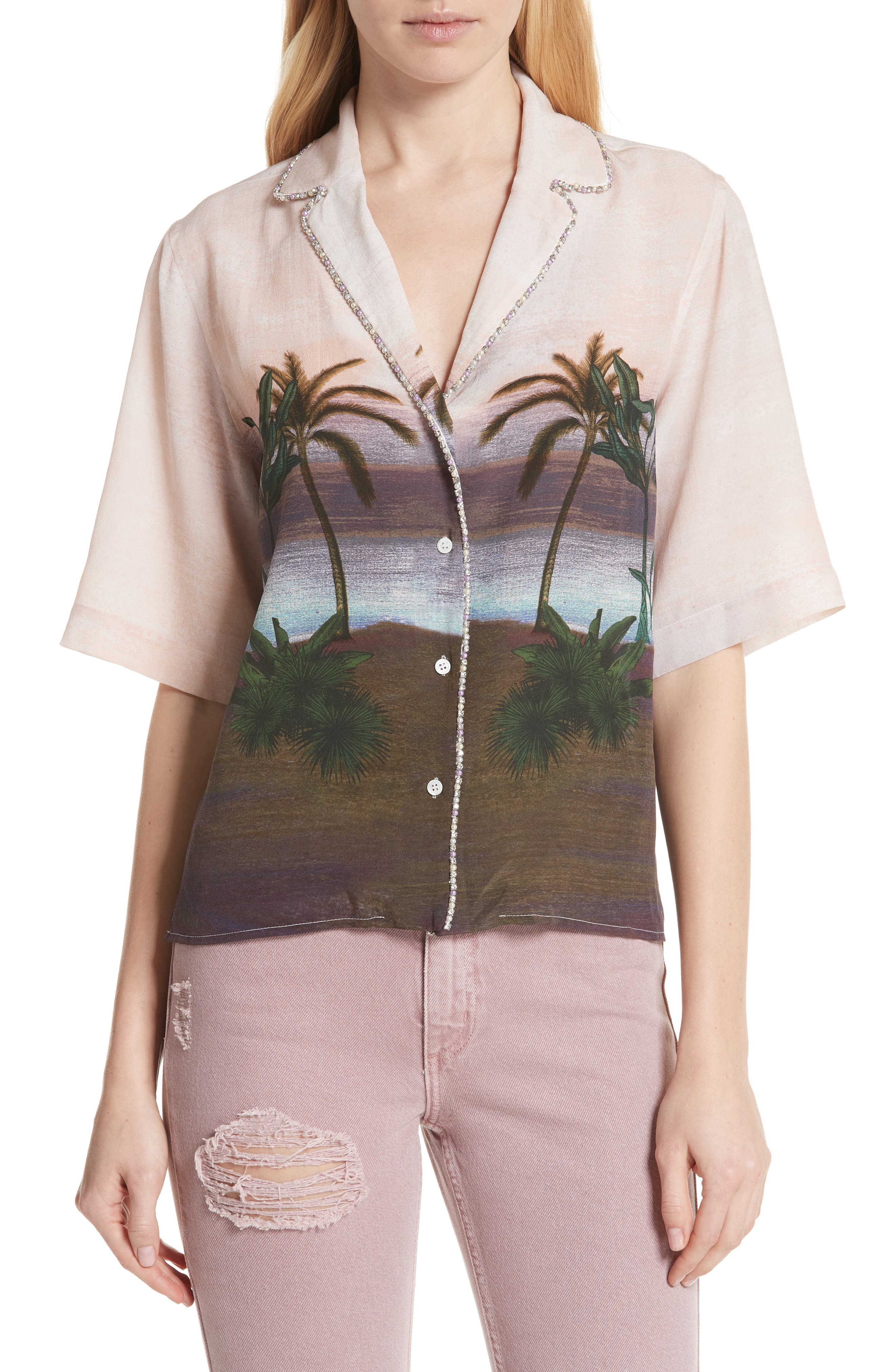 sandro Embellished Tropical Top (Nordstrom Exclusive)