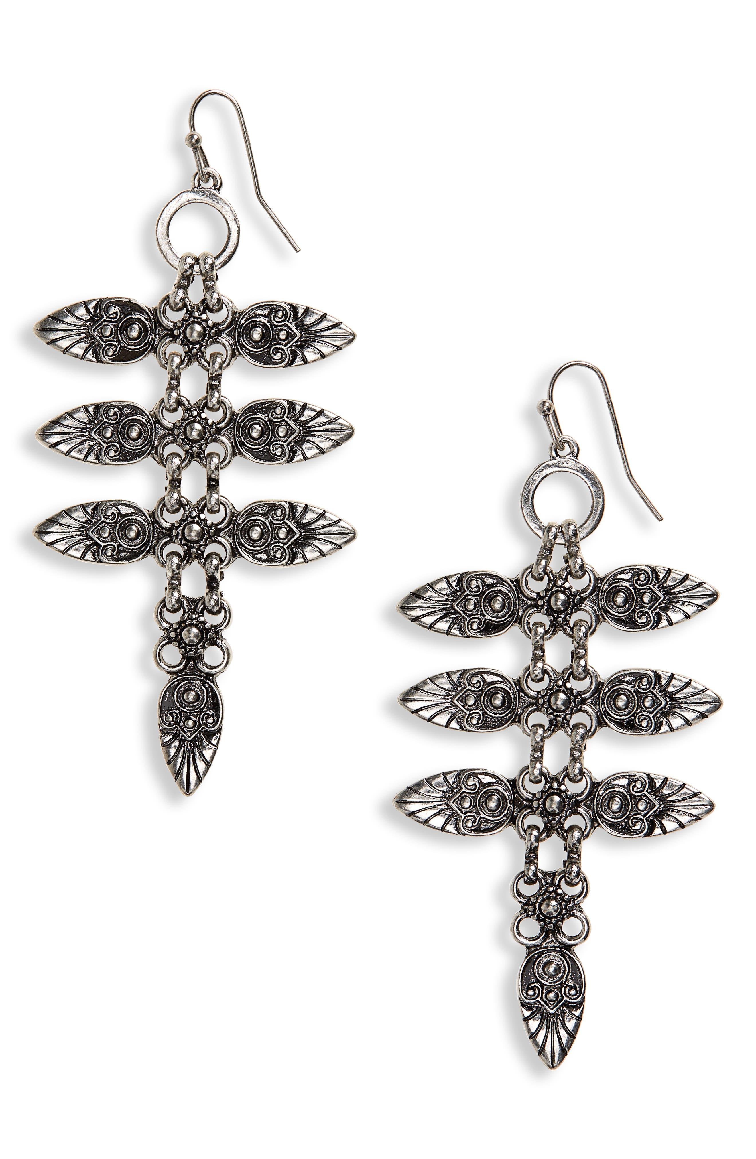 Petal Drop Earrings,                             Main thumbnail 1, color,                             Burnish Silver