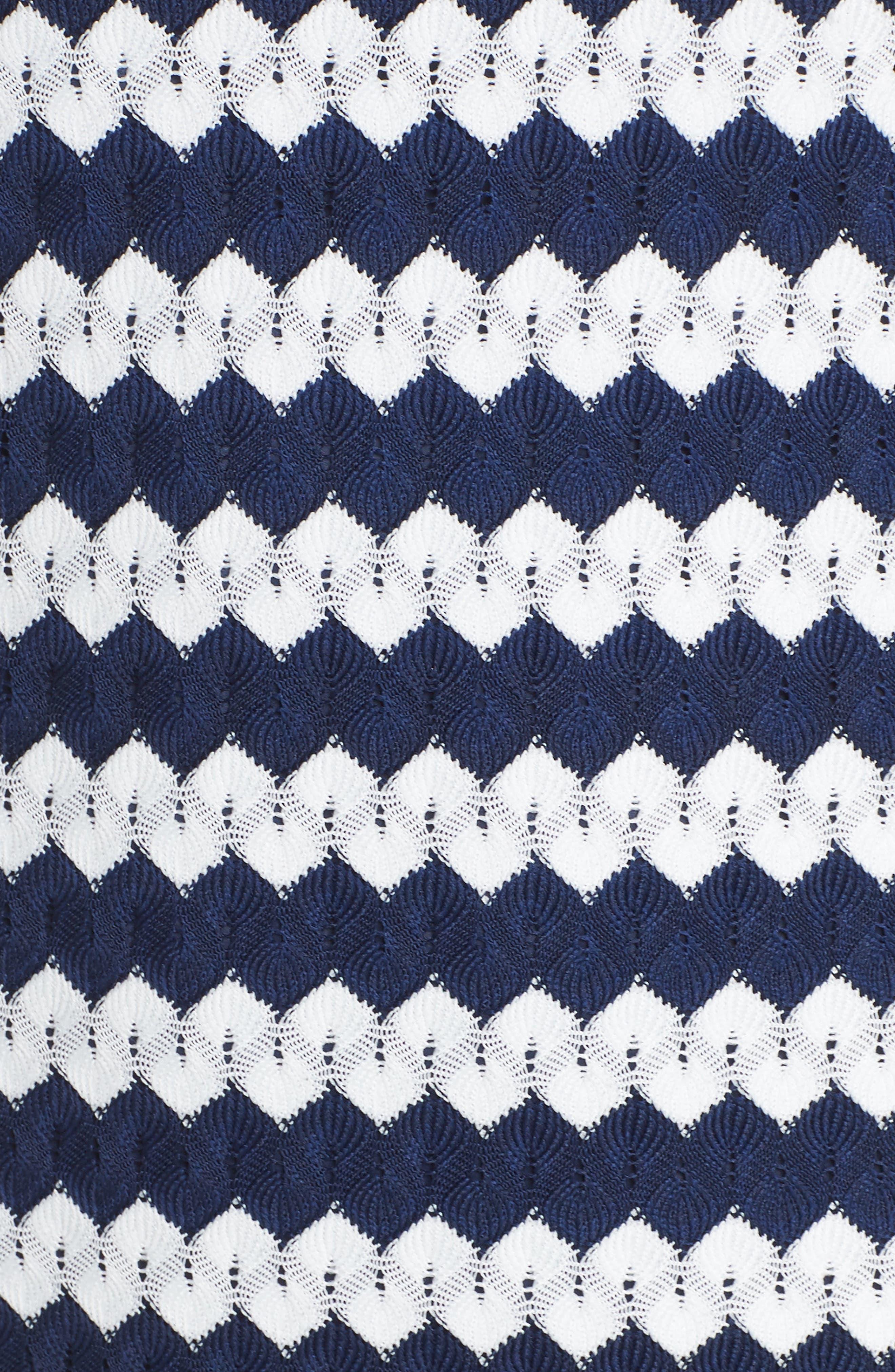 Zigzag Halter Shift Dress,                             Alternate thumbnail 6, color,                             Indigo/ Whitewash