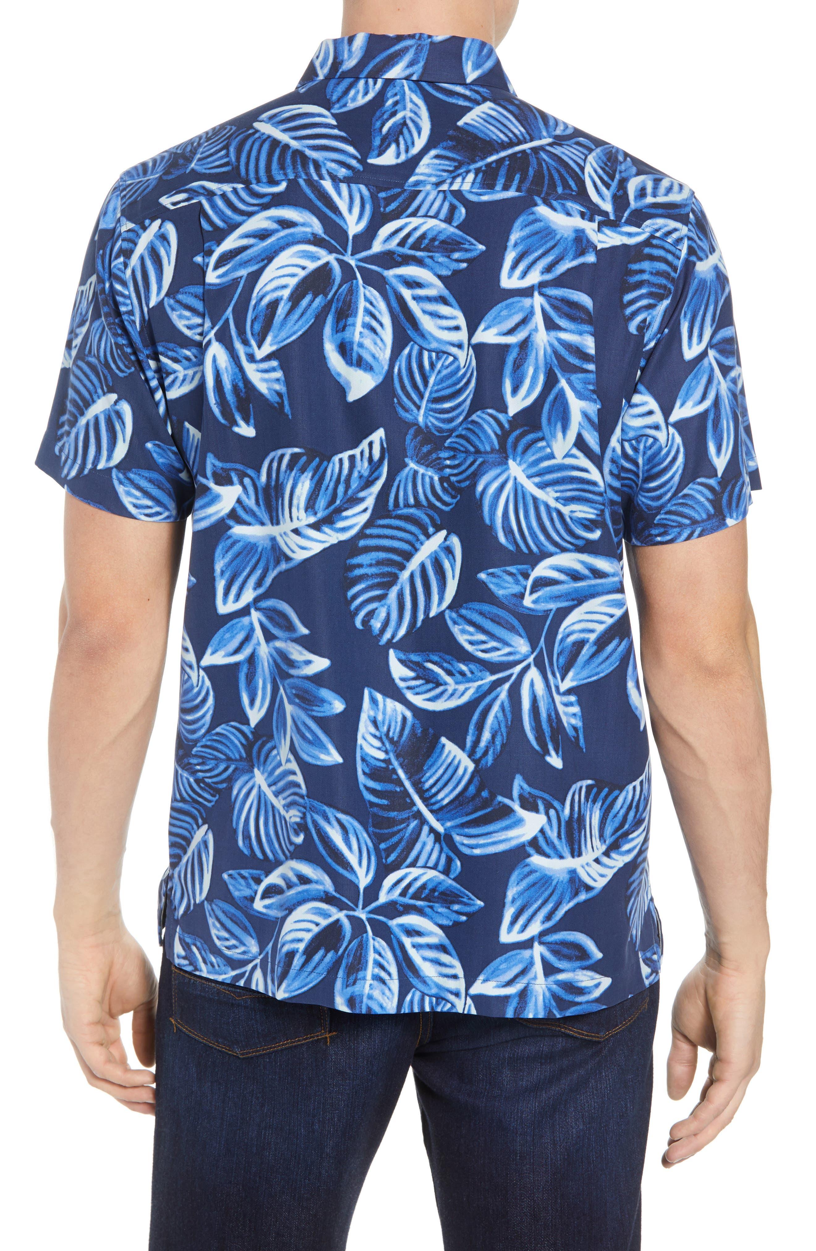 Luna Leaves Silk Camp Shirt,                             Alternate thumbnail 3, color,                             Ocean Deep