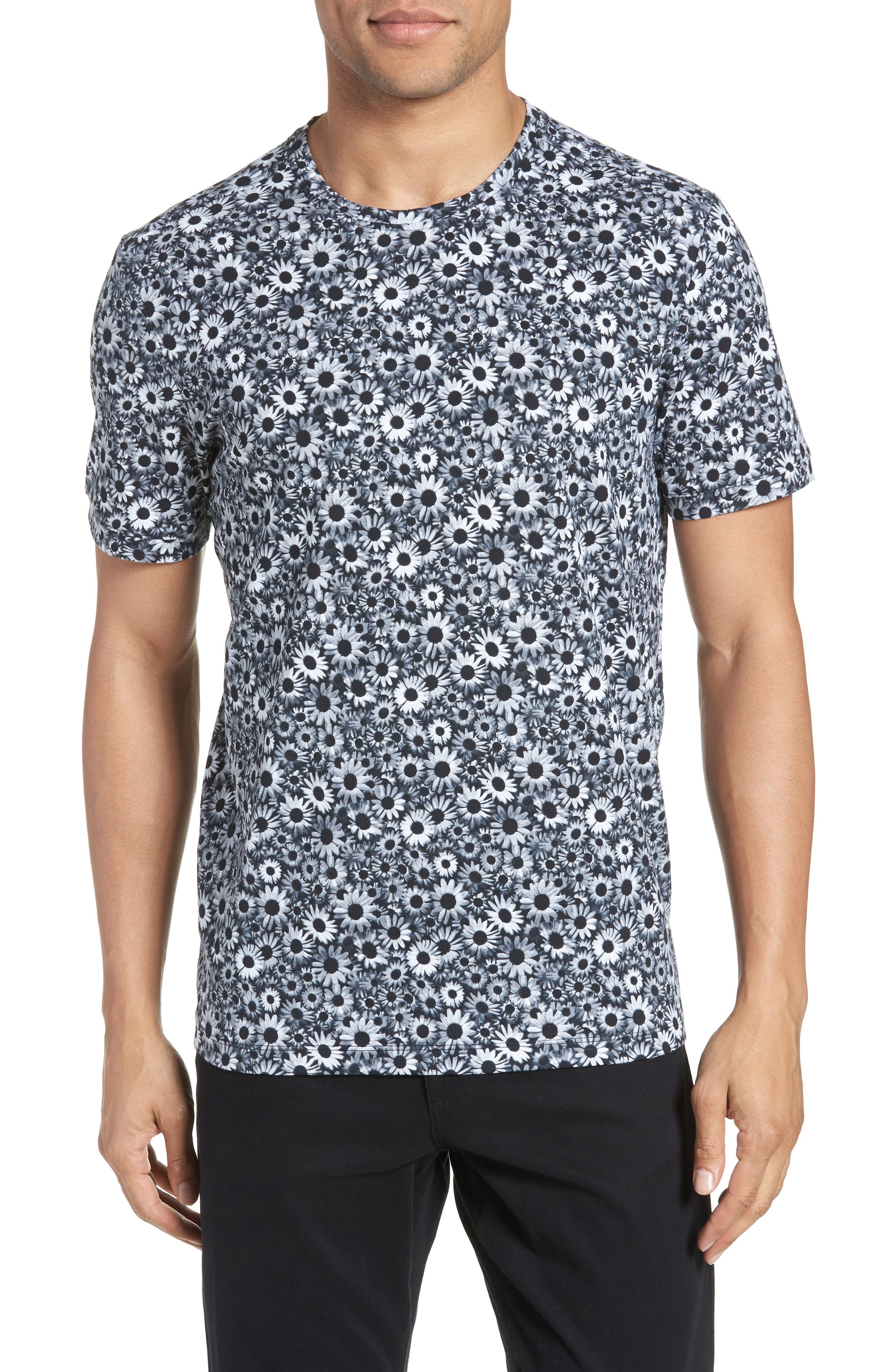 Print T-Shirt,                             Main thumbnail 1, color,                             Black White Daisy Floral