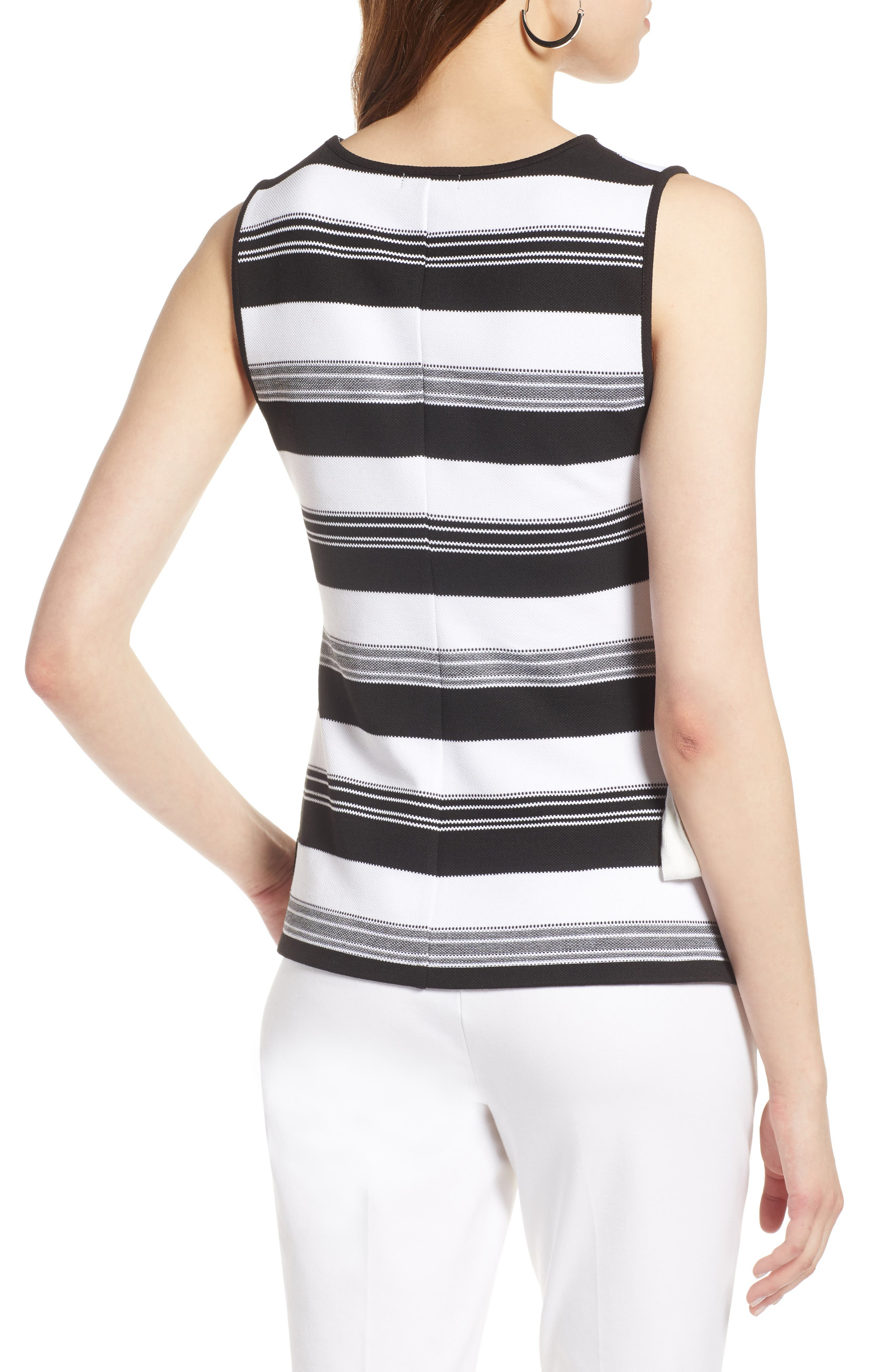 Ruched Stripe Tank Top,                             Alternate thumbnail 2, color,                             Black- Ivory Stripe