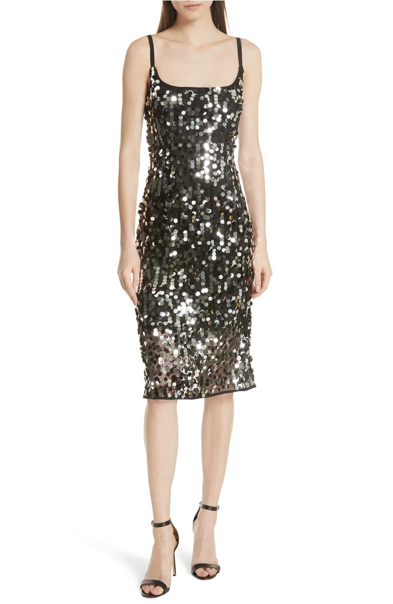 Milly Jessie Sequined Sleeveless Dress In Black