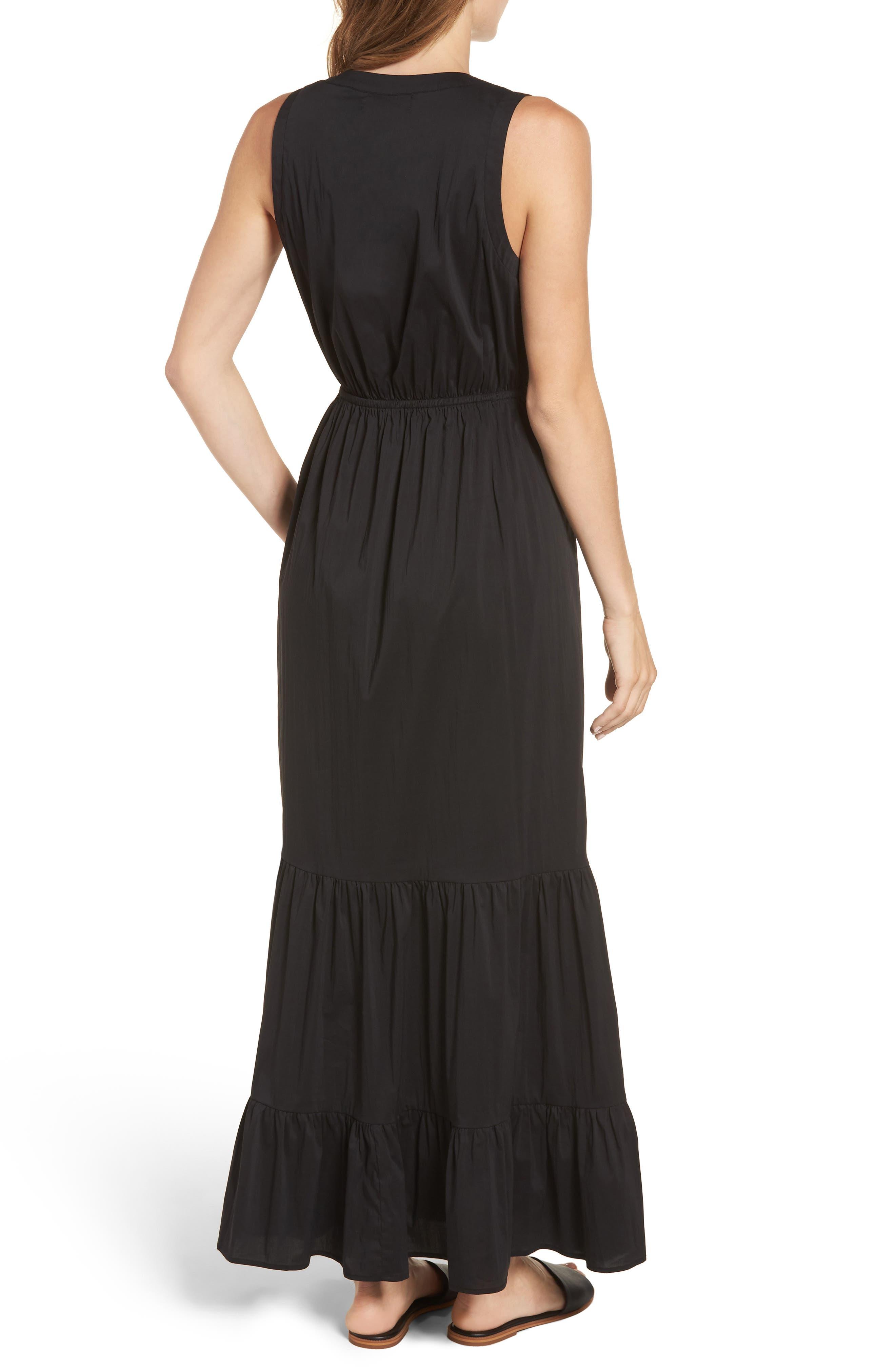Tiered Maxi Dress,                             Alternate thumbnail 2, color,                             Black Solid Poplin