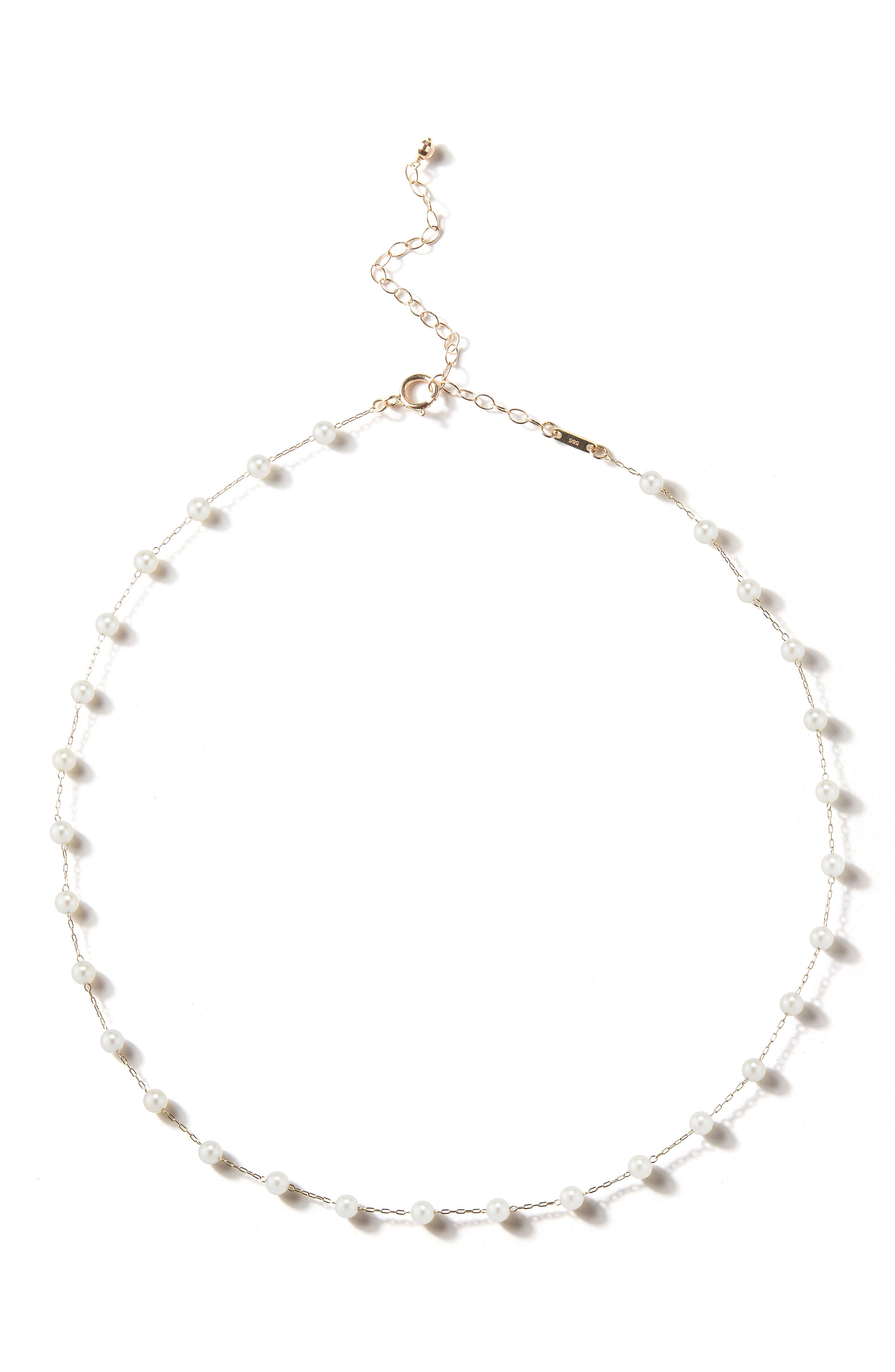 Pearl Choker Necklace,                         Main,                         color, Yellow Gold/ Pearl
