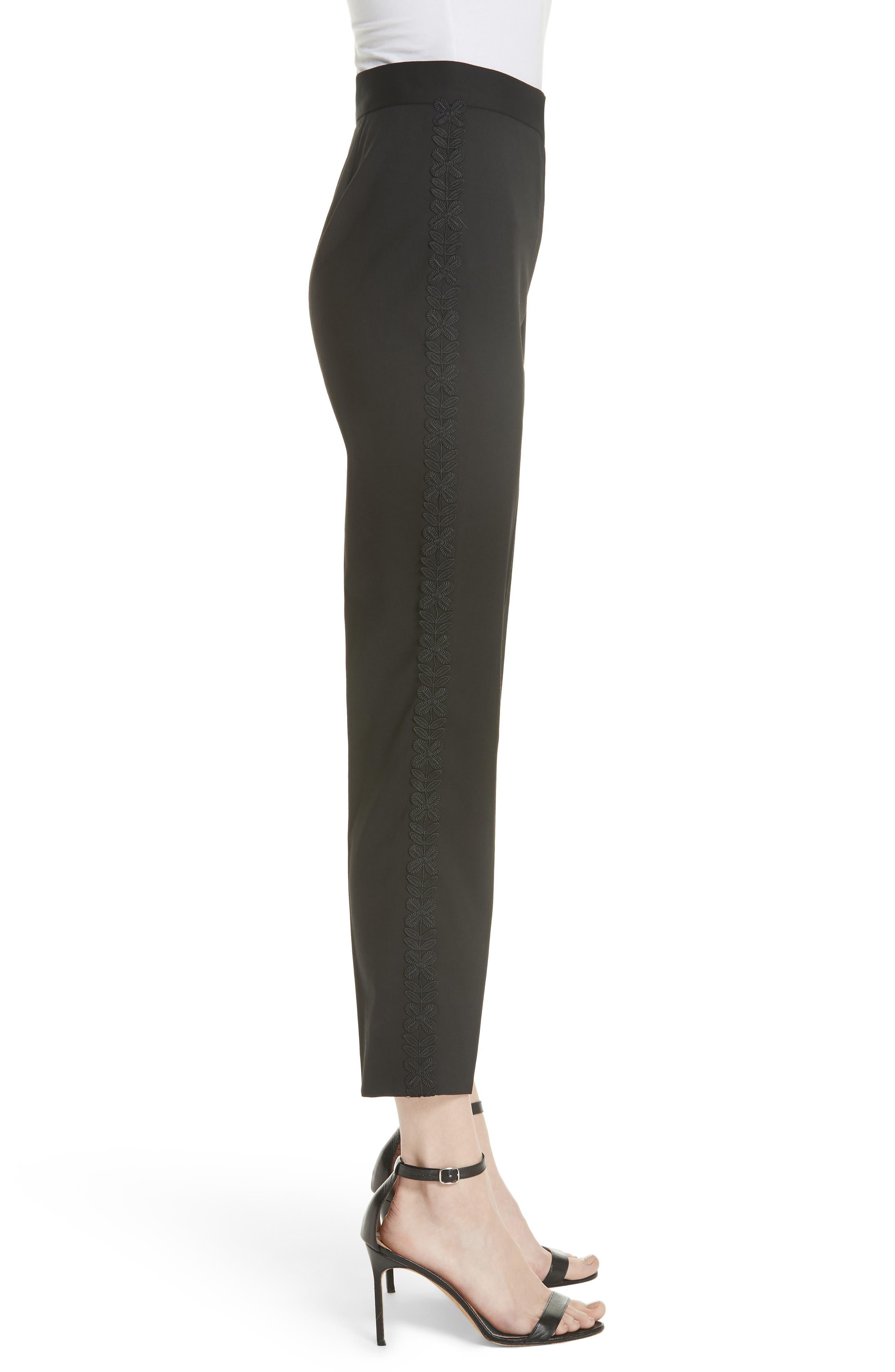 Flower Trim Italian Stretch Wool Pants,                             Alternate thumbnail 5, color,                             Black