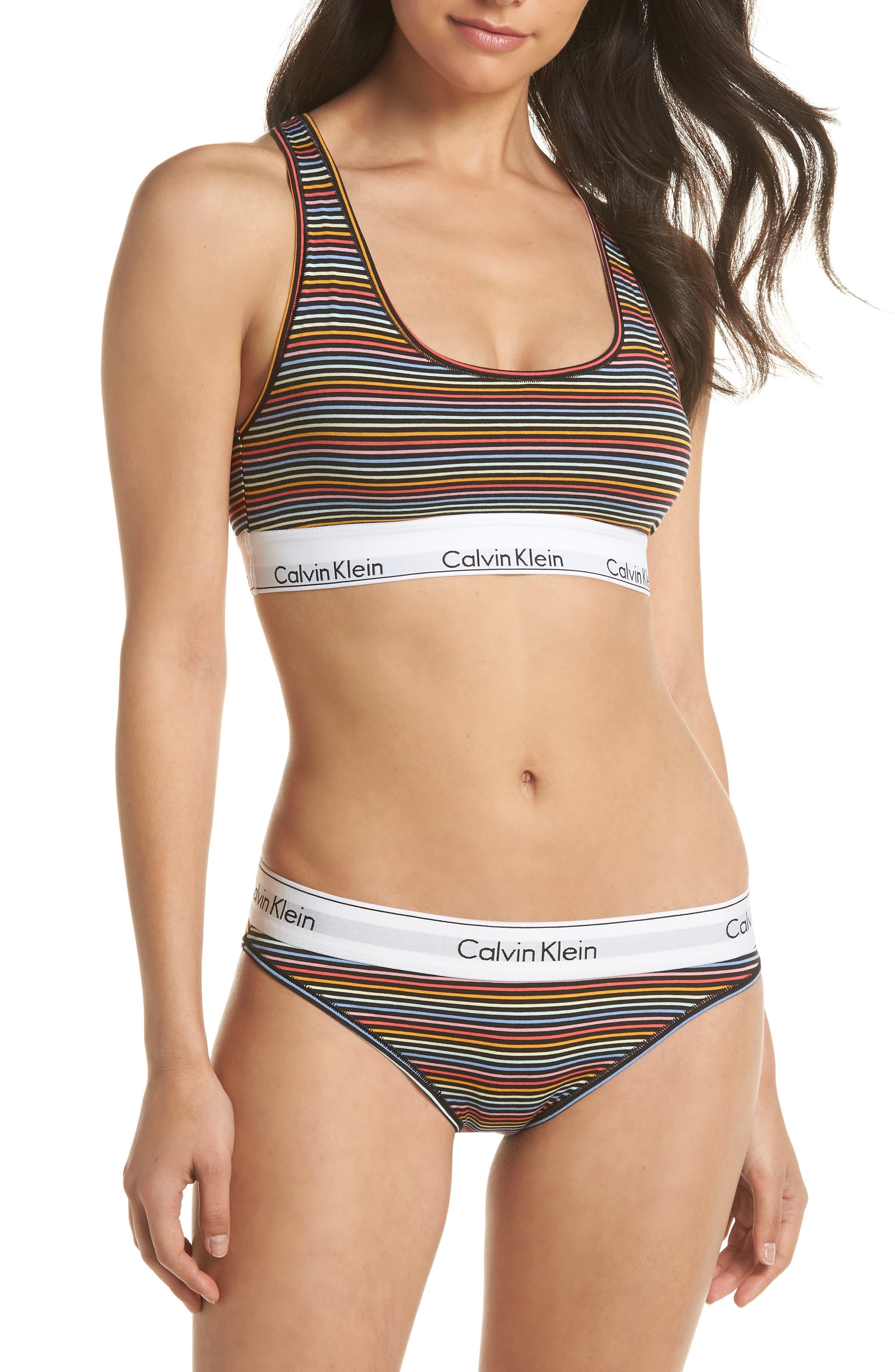 'Modern Cotton Collection' Cotton Blend Bikini,                             Alternate thumbnail 4, color,                             Prism Stripe Black