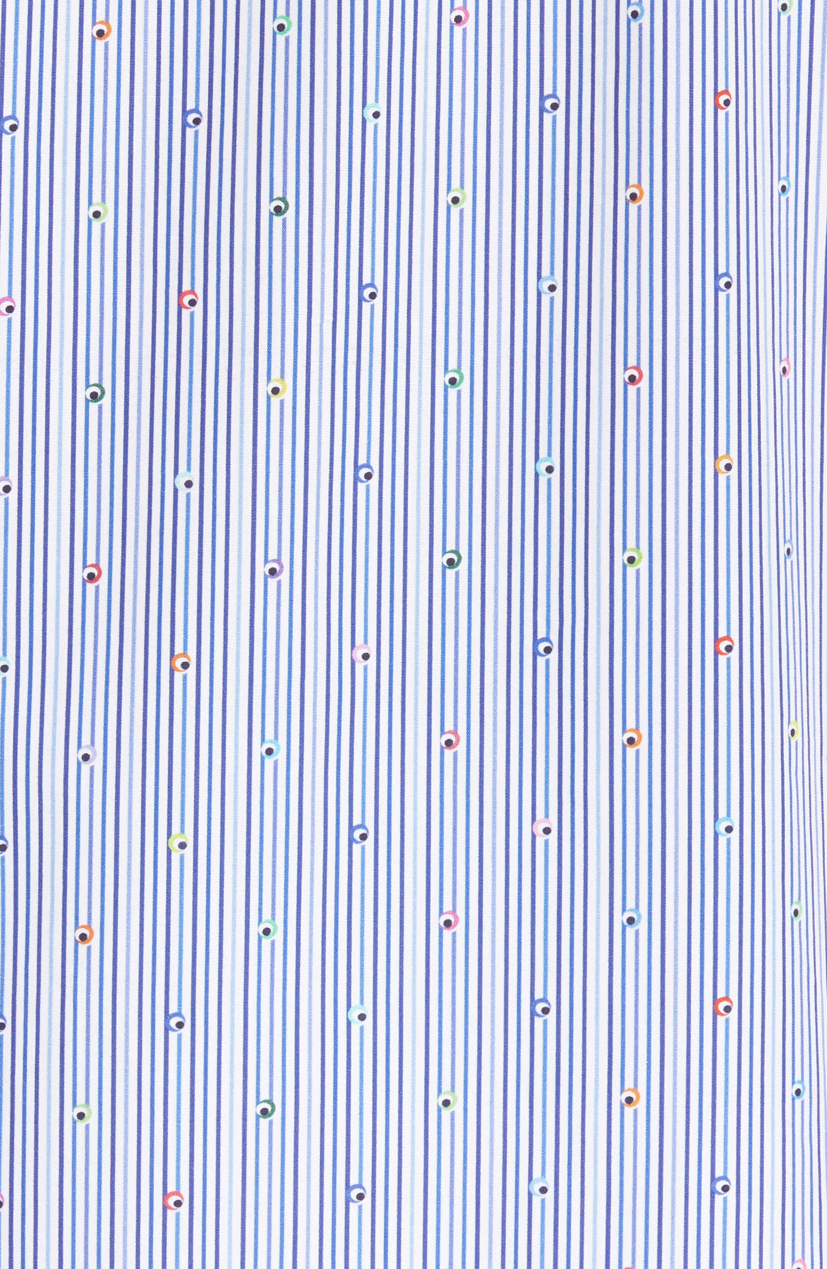 Classic Fit Stripe Sport Shirt,                             Alternate thumbnail 5, color,                             Navy