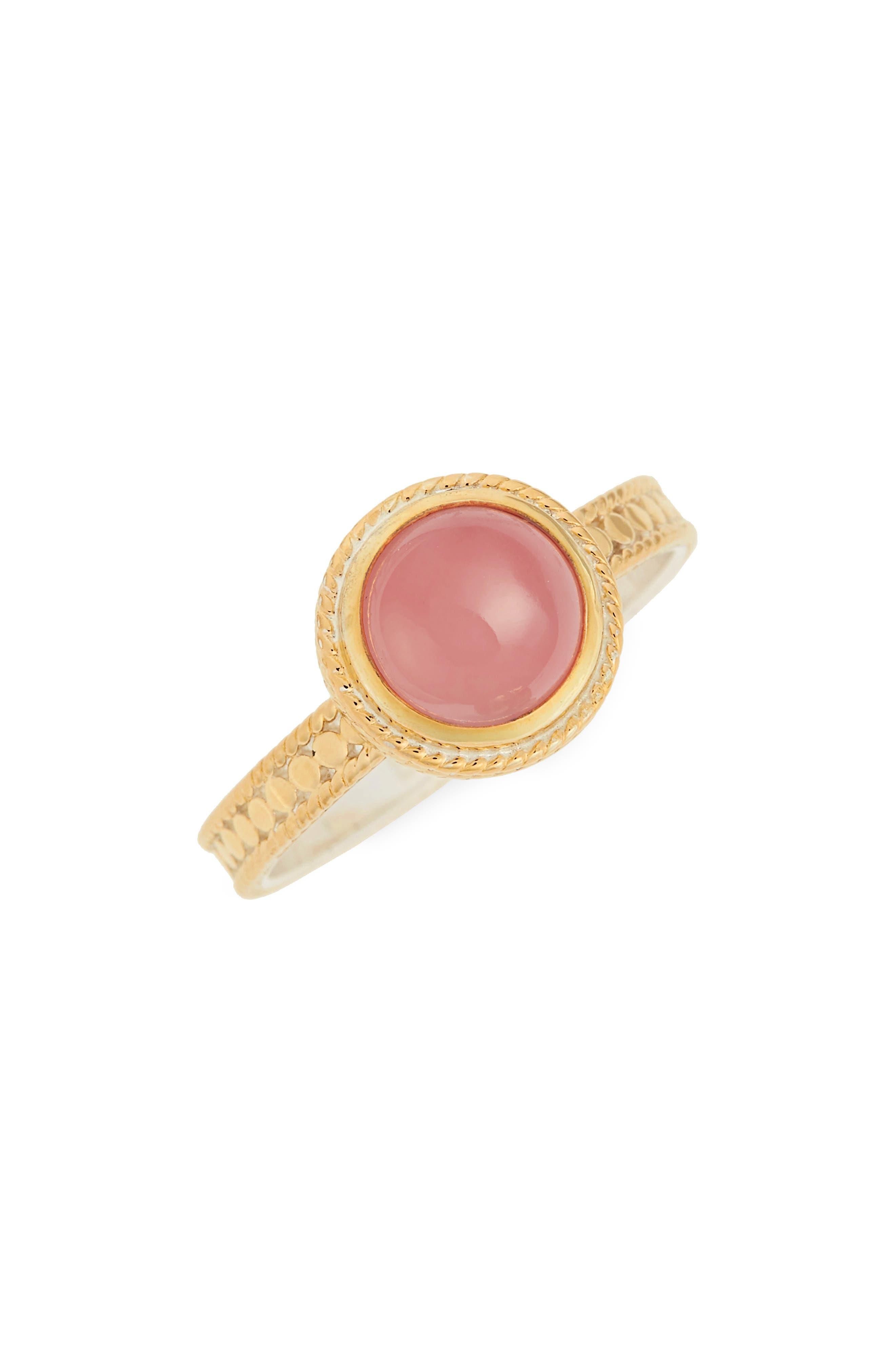Stone Ring,                             Main thumbnail 1, color,                             Guava Quartz/ Gold