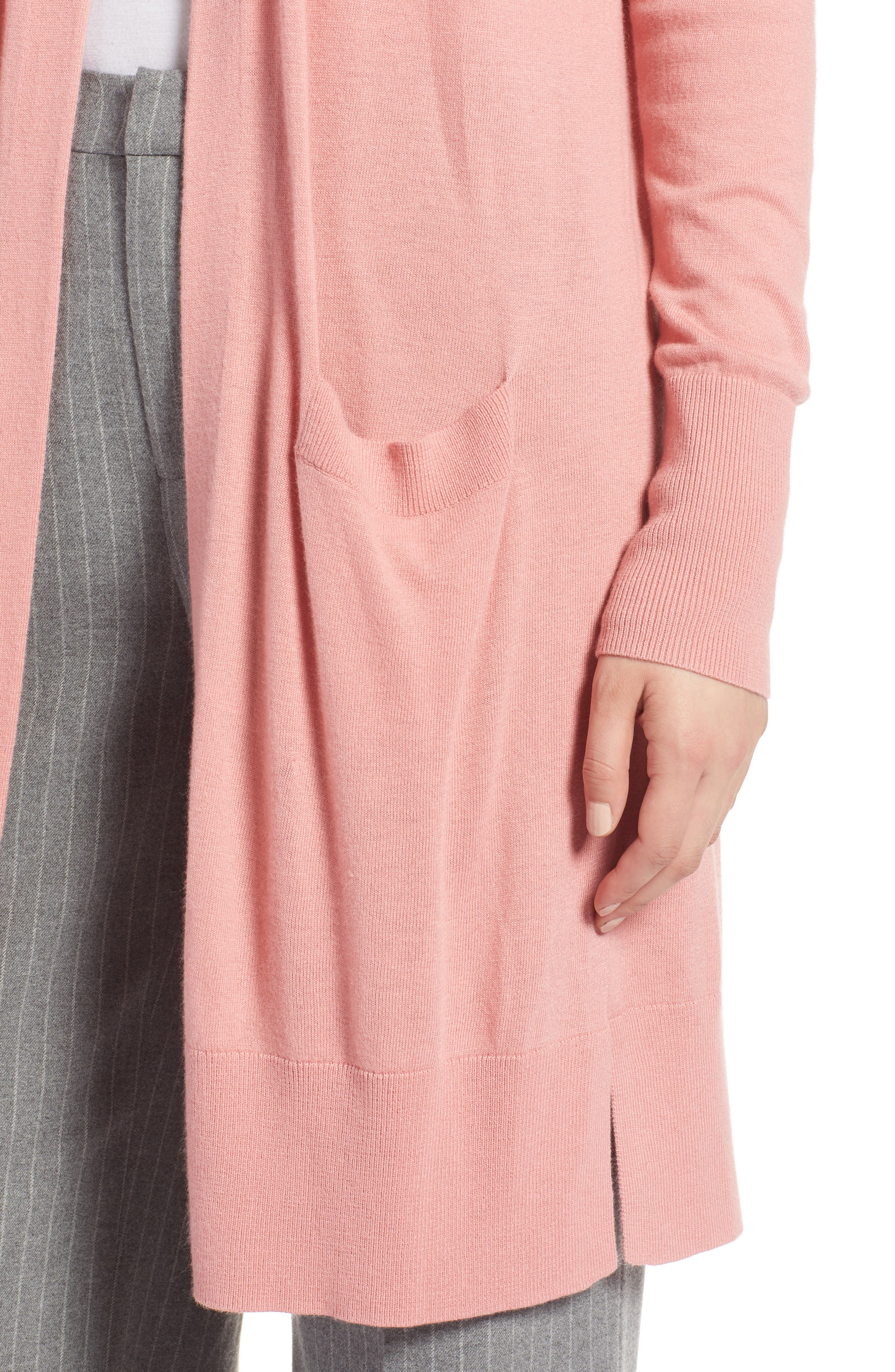Open Front Pocket Cardigan,                             Alternate thumbnail 4, color,                             Pink Apricot