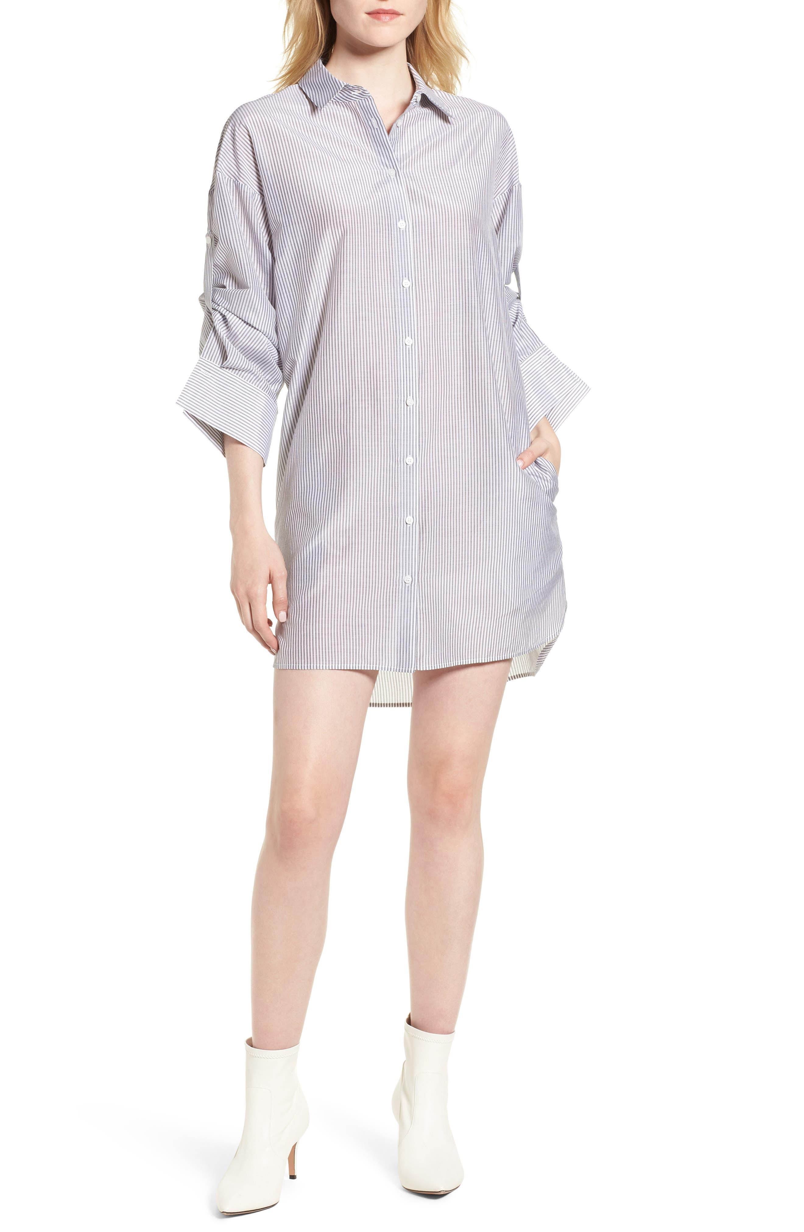 Stripe Cotton & Silk Shirtdress,                             Main thumbnail 1, color,                             White- Grey Even Stripe