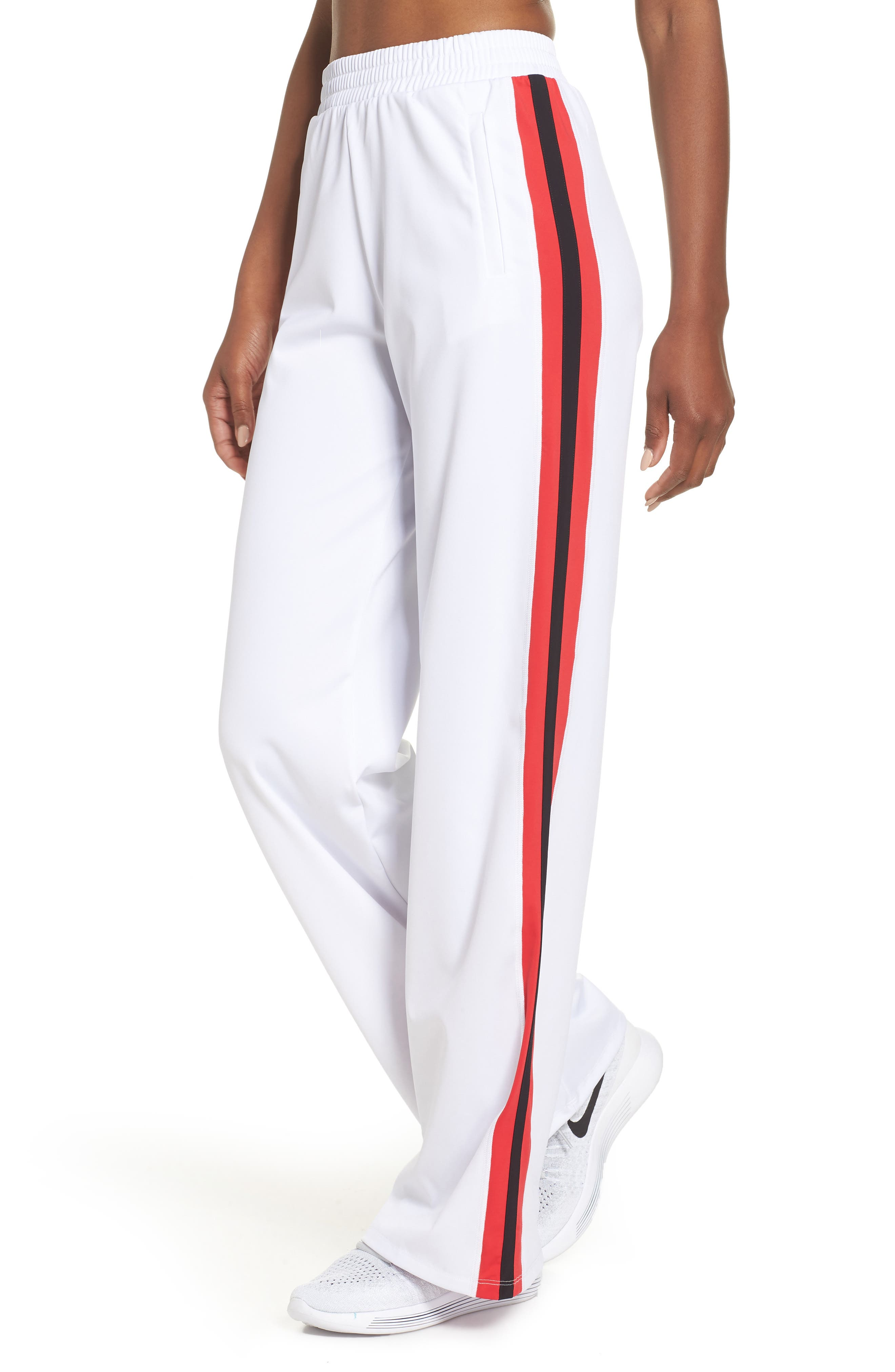 Wide Leg Track Pants,                         Main,                         color, White/ Red/ Black