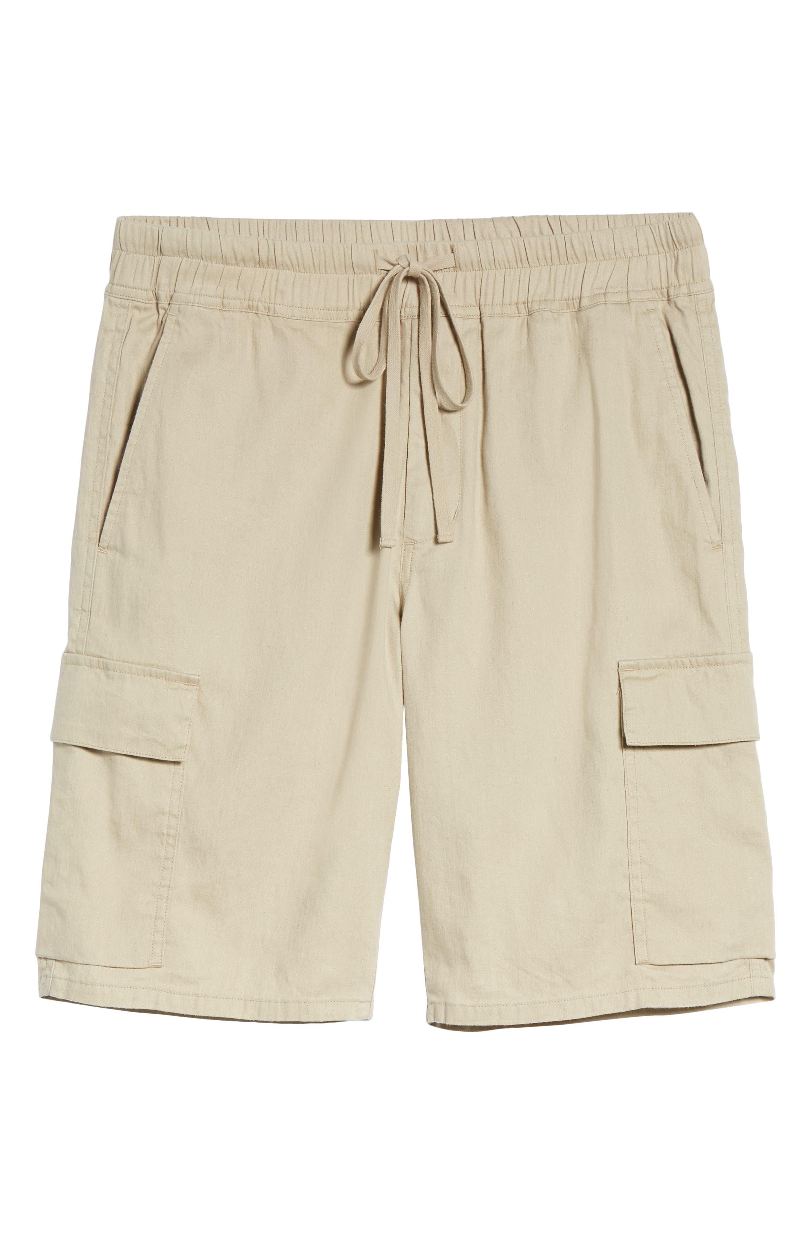Stretch Linen & Cotton Cargo Shorts,                             Alternate thumbnail 7, color,                             Flax