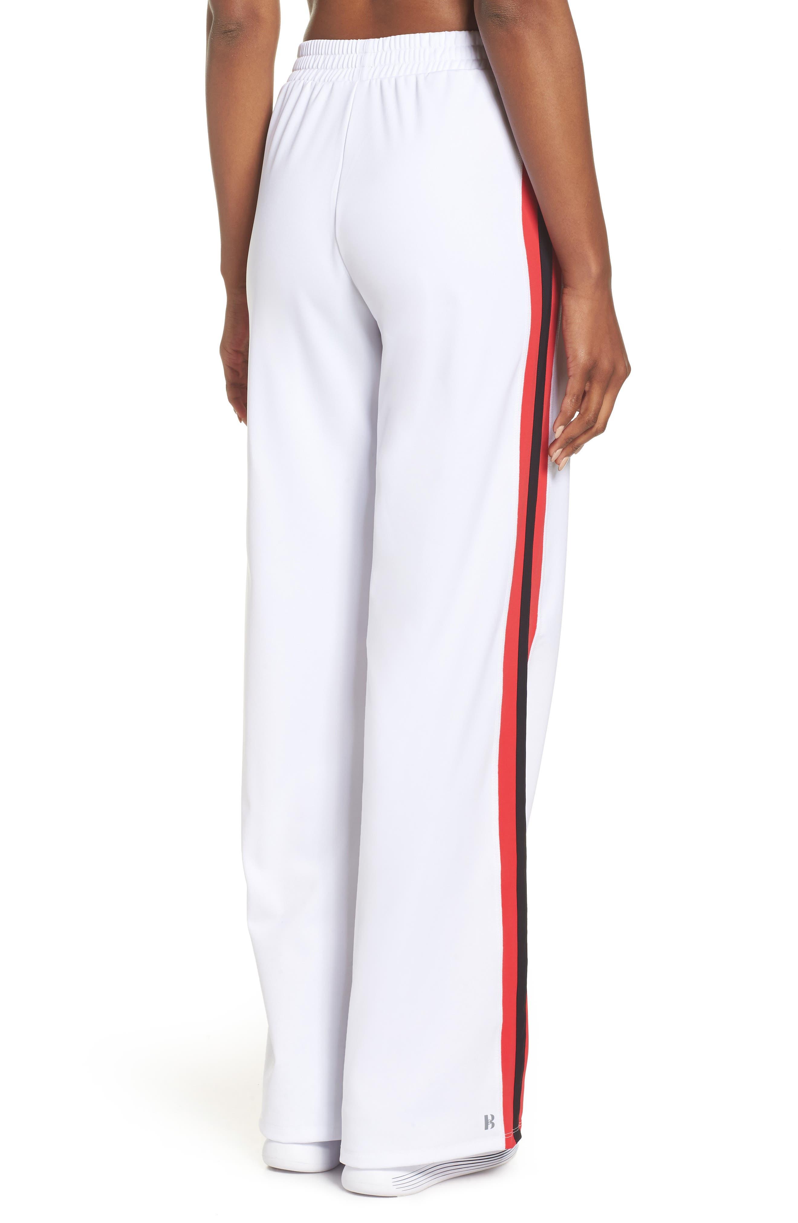 Wide Leg Track Pants,                             Alternate thumbnail 2, color,                             White/ Red/ Black