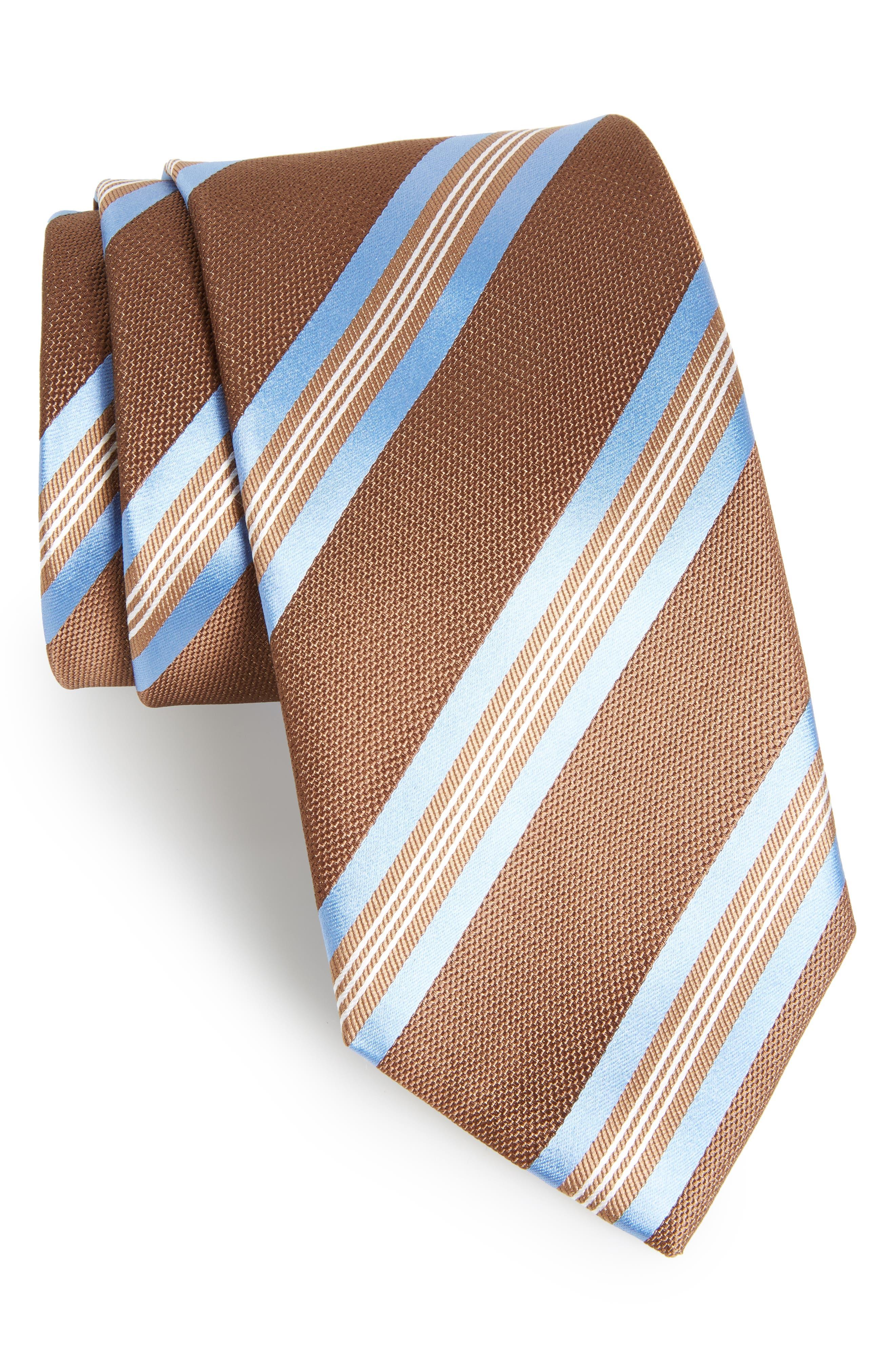 Stripe Silk Tie,                         Main,                         color, Chocolate