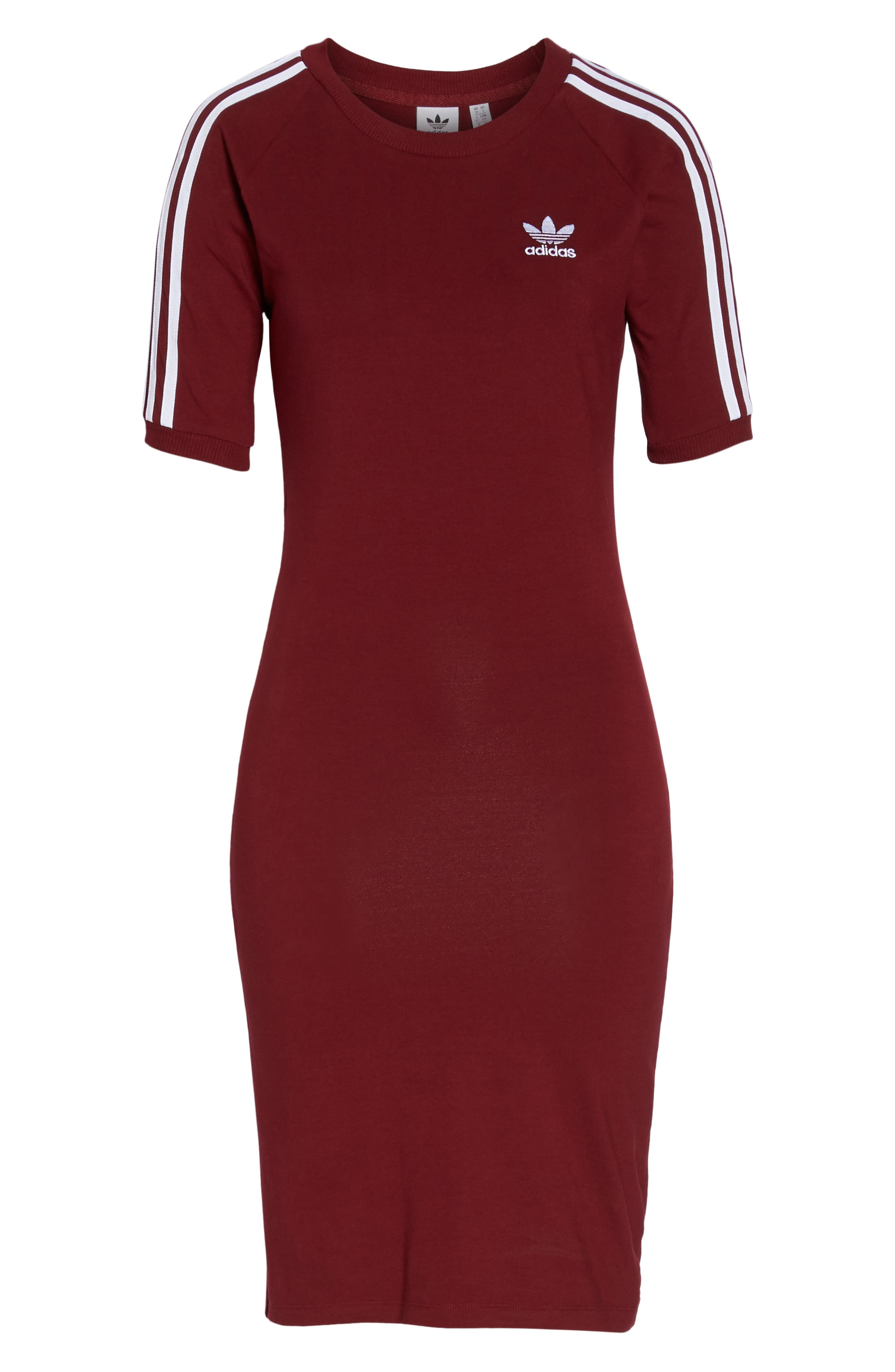 Originals 3-Stripes Dress,                             Alternate thumbnail 7, color,                             Collegiate Burgundy