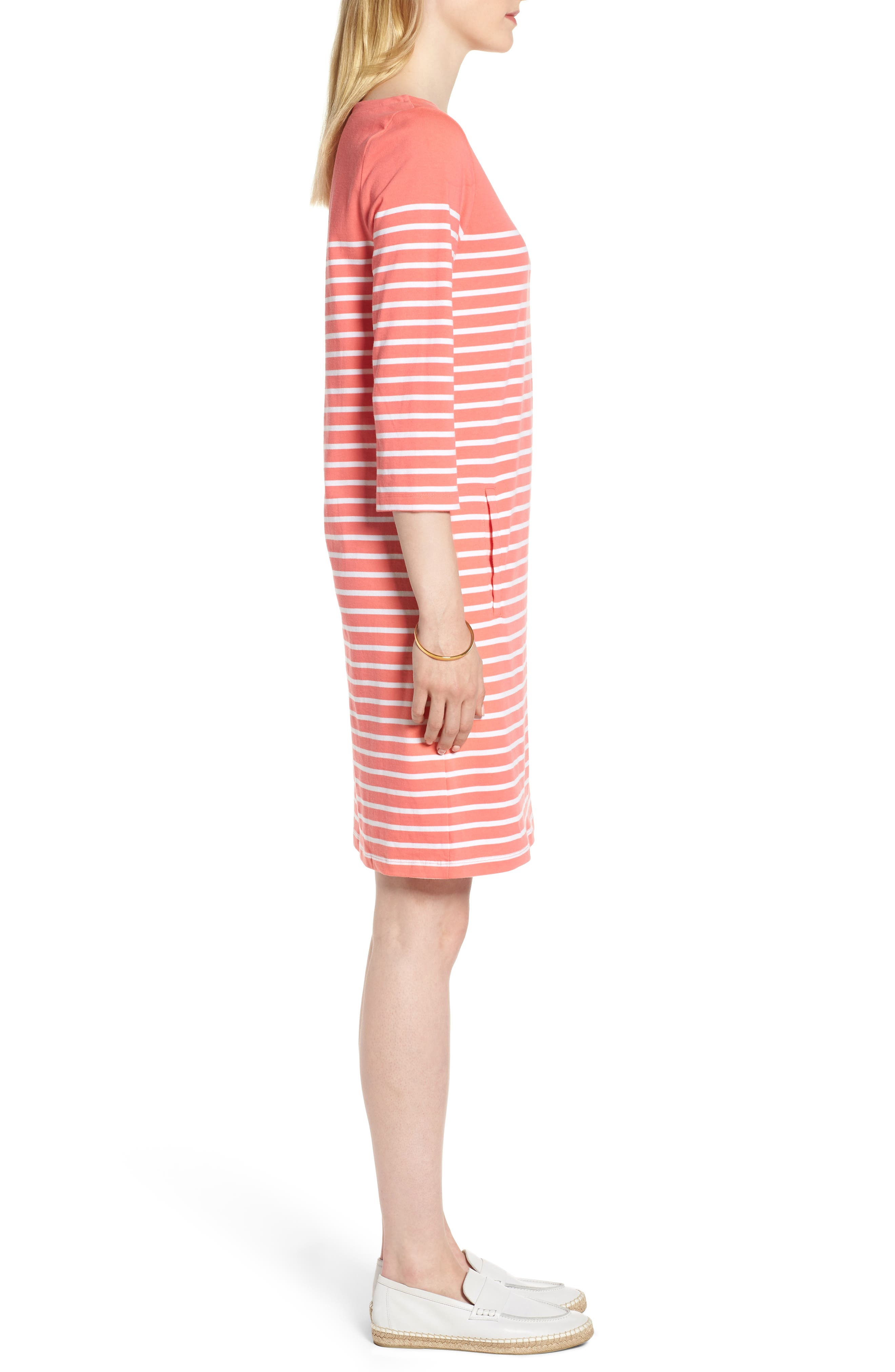 Stripe Cotton Knit Shift Dress,                             Alternate thumbnail 3, color,                             Coral- White Stripe