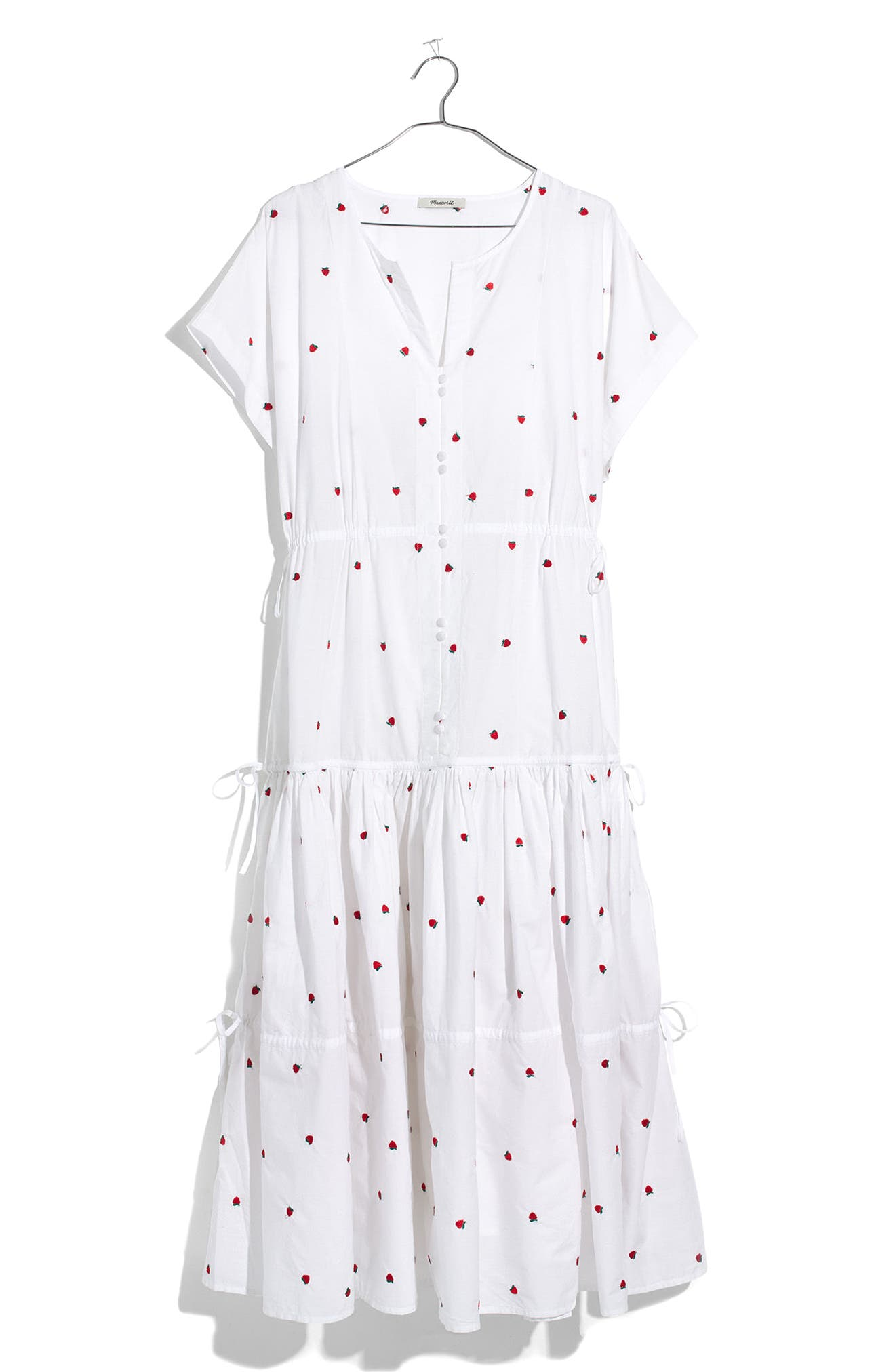 Embroidered Strawberry Tiered Midi Dress,                             Alternate thumbnail 4, color,                             Strawberry Critter White