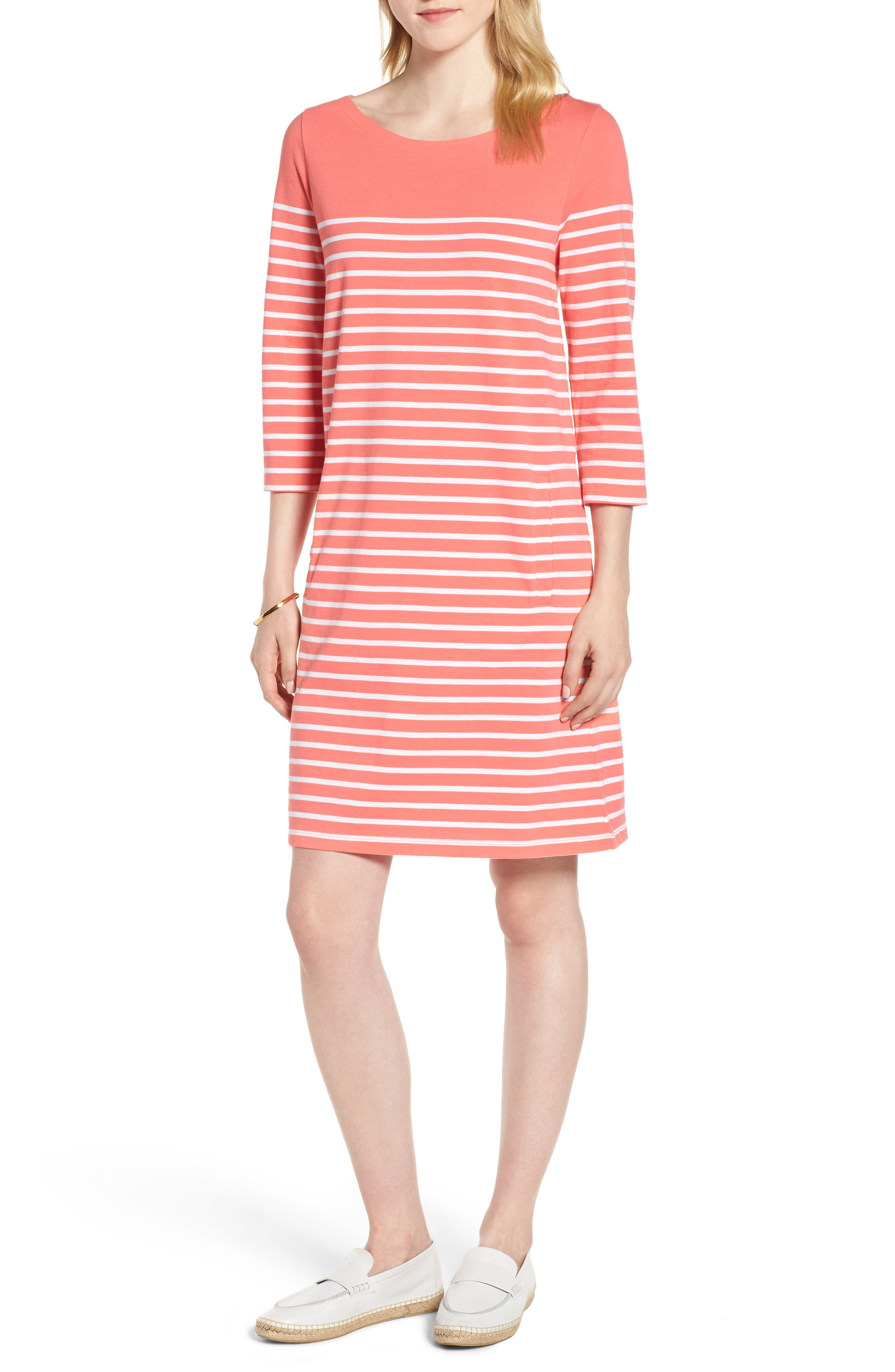 Stripe Cotton Knit Shift Dress,                             Main thumbnail 1, color,                             Coral- White Stripe