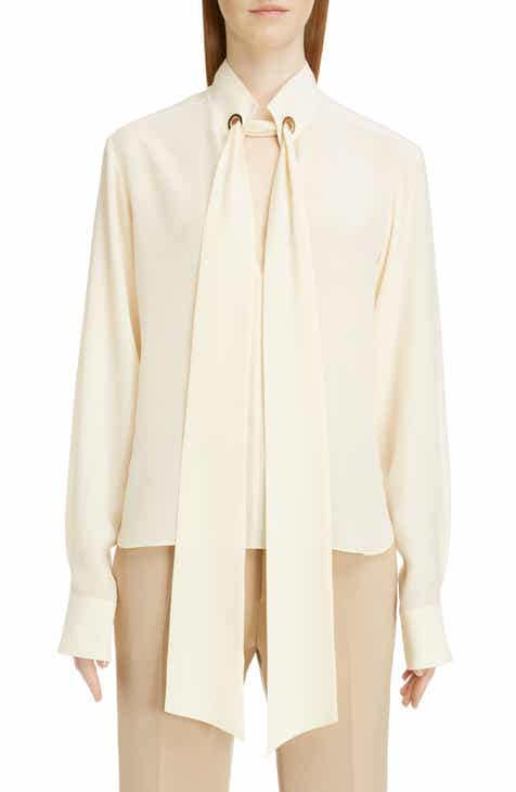 60e1c85afe671 Chloé Ring Detail Tie Neck Silk Crêpe de Chine Blouse