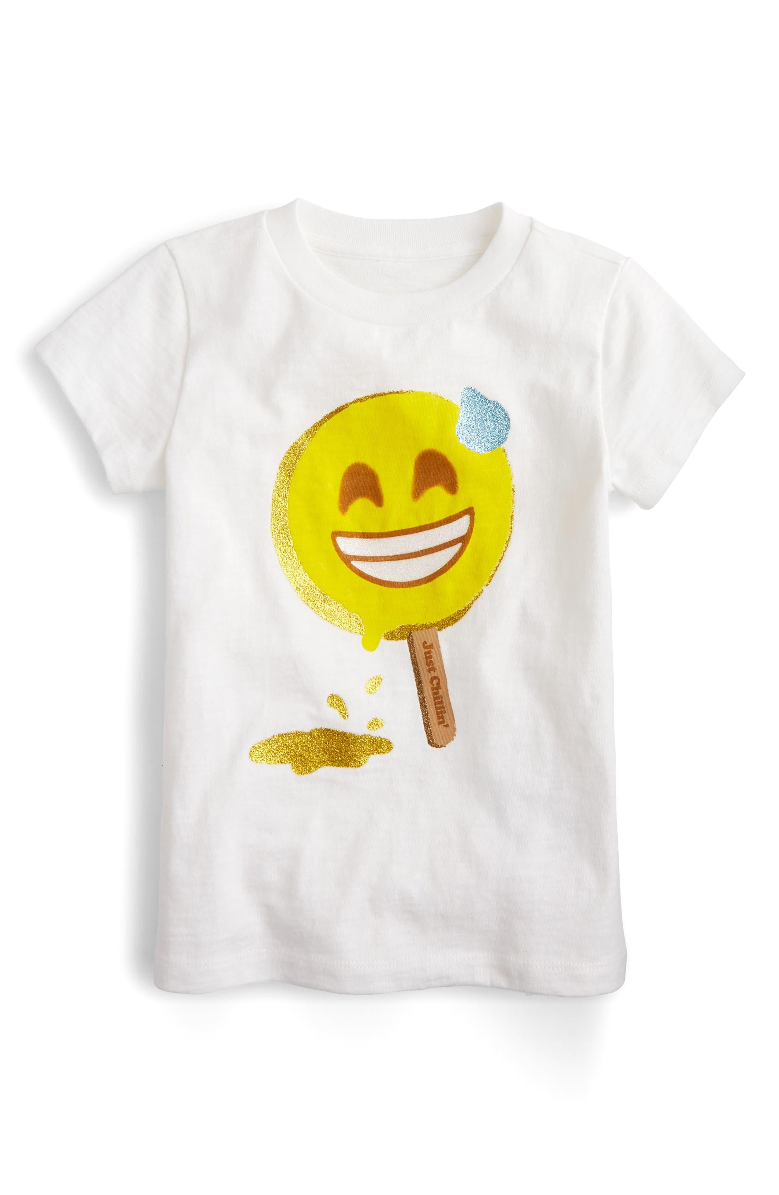 crewcuts by J. Crew Chill Emoji Tee (Toddler Girls, Little Girls & Big Girls)