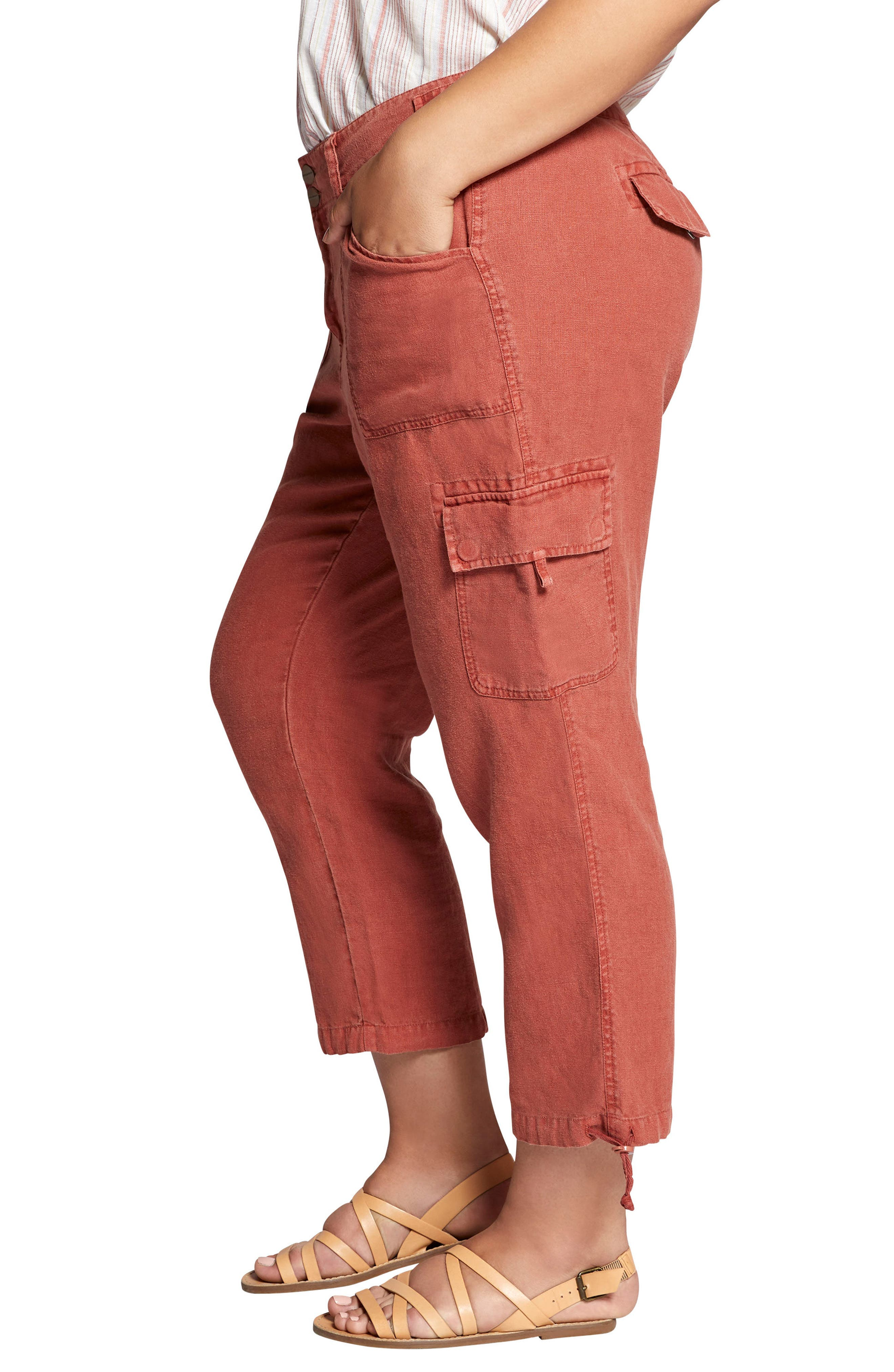 Terrain Crop Linen Cargo Pants,                             Alternate thumbnail 3, color,                             Terra Cotta