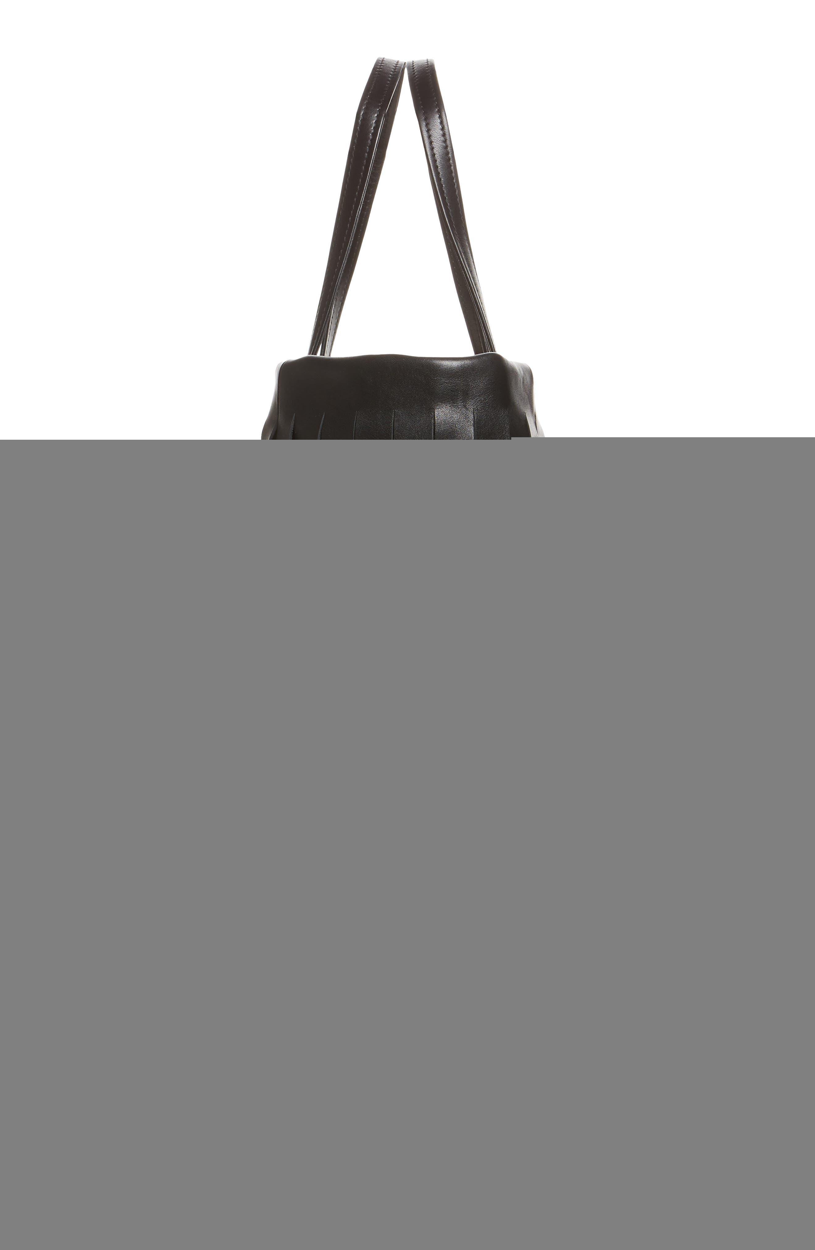 Small Laundry Cabas Fringe Calfskin Tote,                             Alternate thumbnail 3, color,                             Noir/ Blanc
