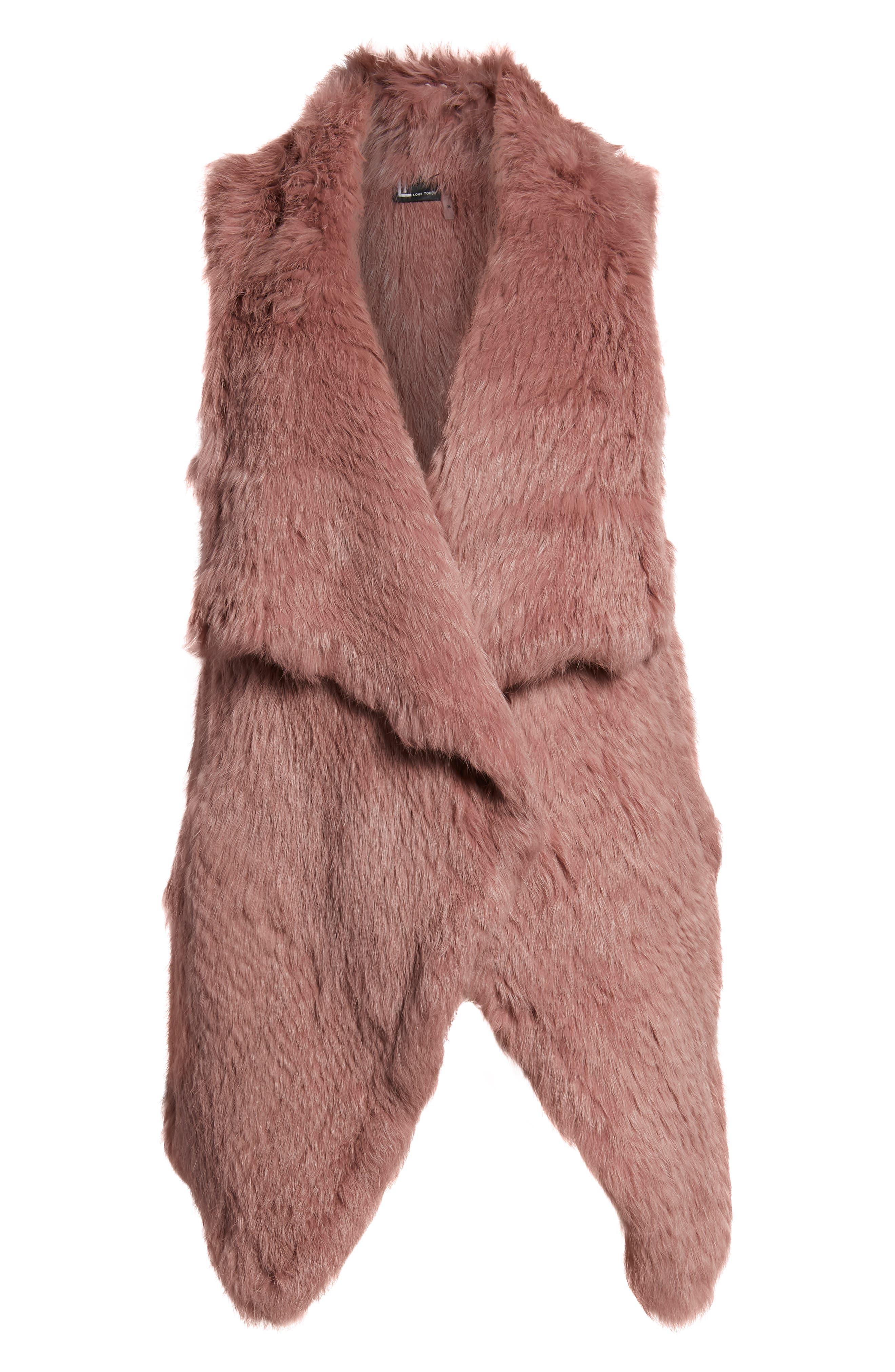 Long Drape Genuine Rabbit Fur Vest,                             Alternate thumbnail 7, color,                             Rose