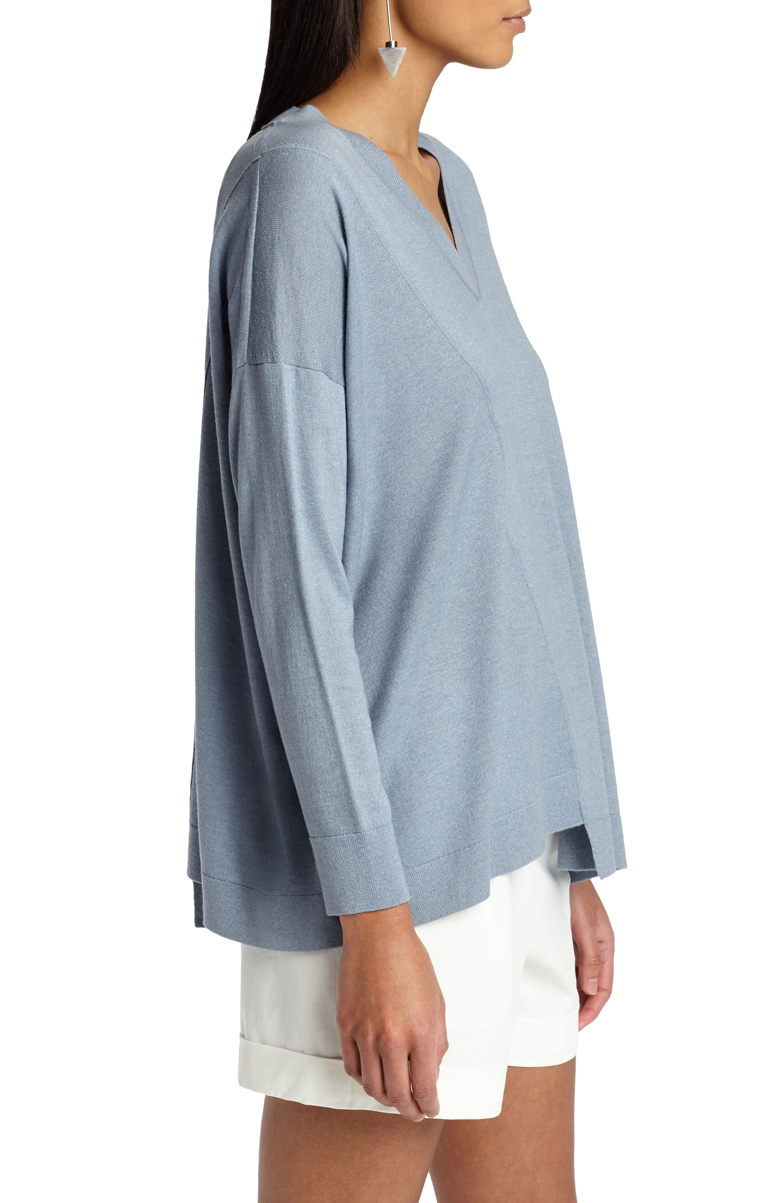 Asymmetrical Cashmere & Silk Blend Sweater,                             Alternate thumbnail 3, color,                             Slate Blue