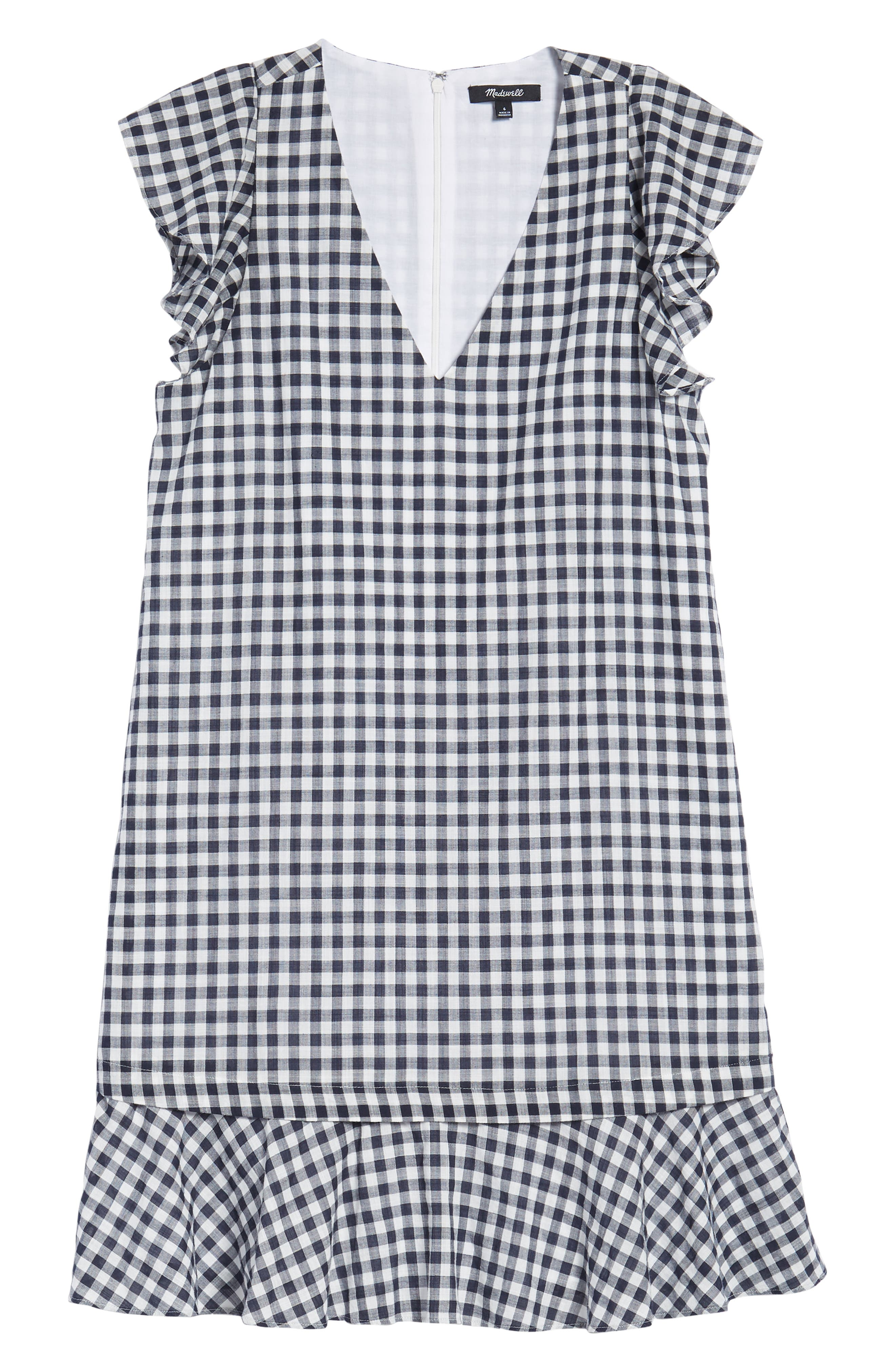 Ruffle Gingham Shift,                             Alternate thumbnail 7, color,                             Deep Indigo