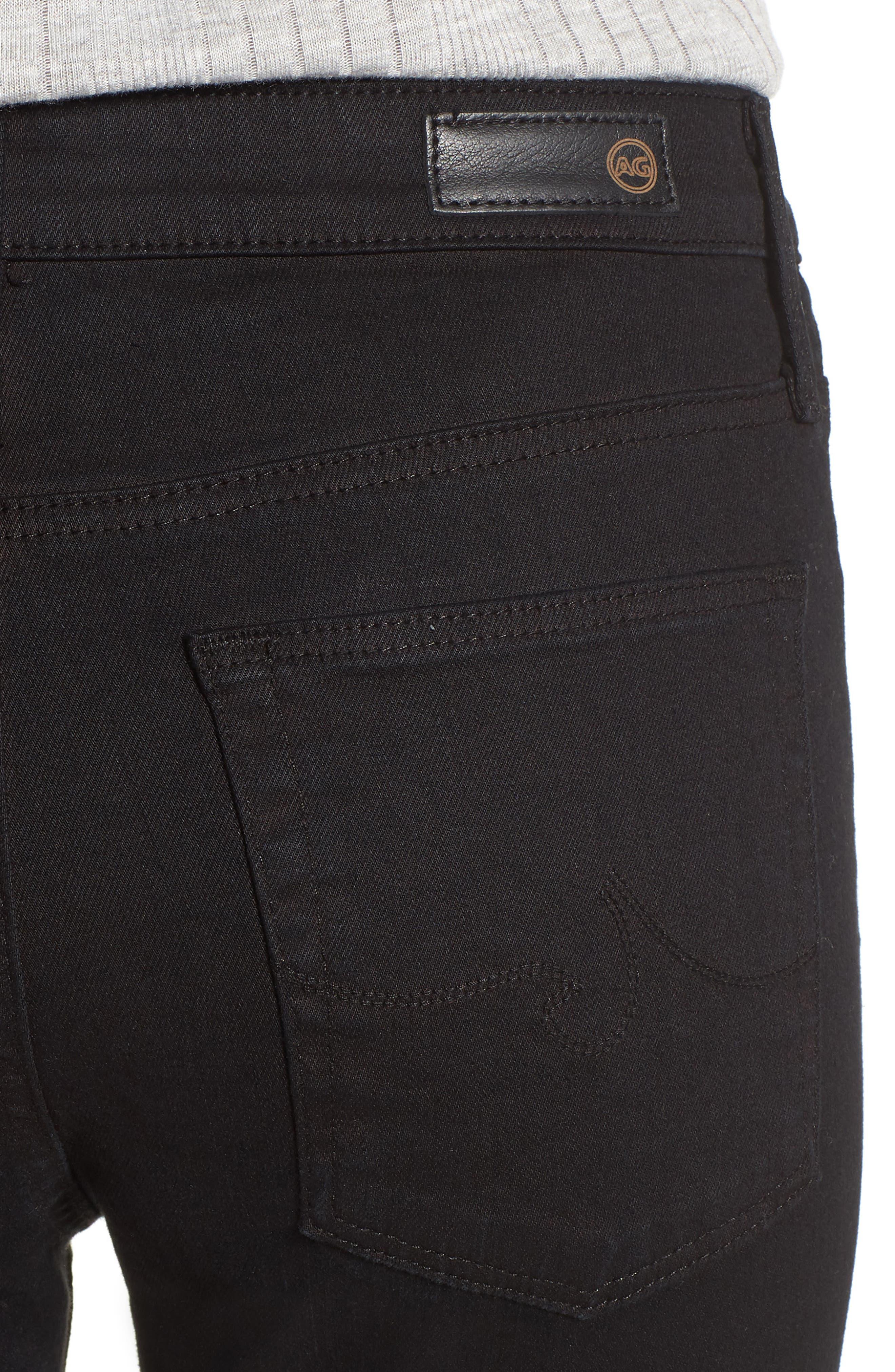 'The Farrah' High Rise Skinny Jeans,                             Alternate thumbnail 4, color,                             Overdyed Black