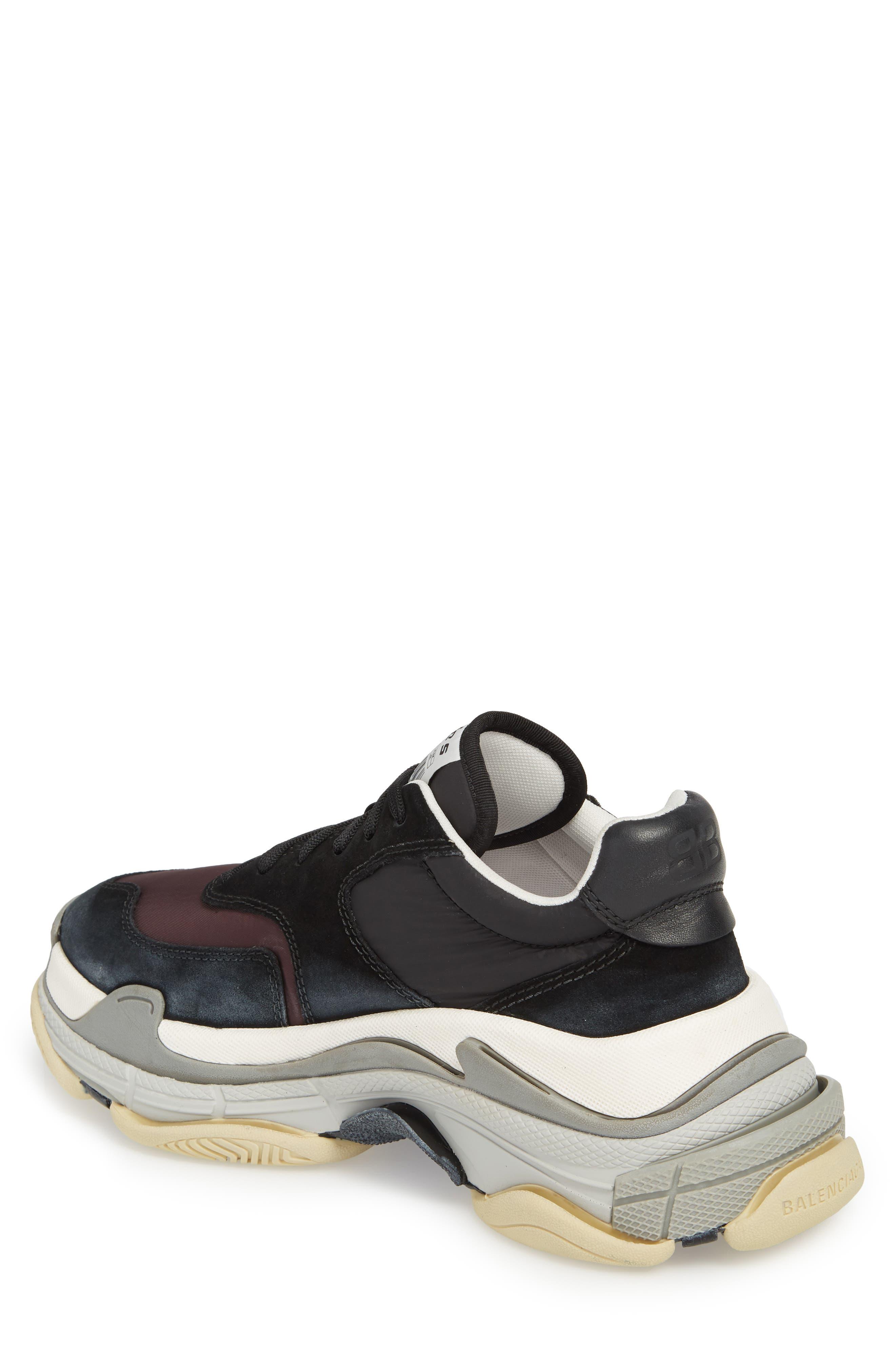 Triple S Retro Sneaker,                             Alternate thumbnail 2, color,                             Black/ Bordeaux
