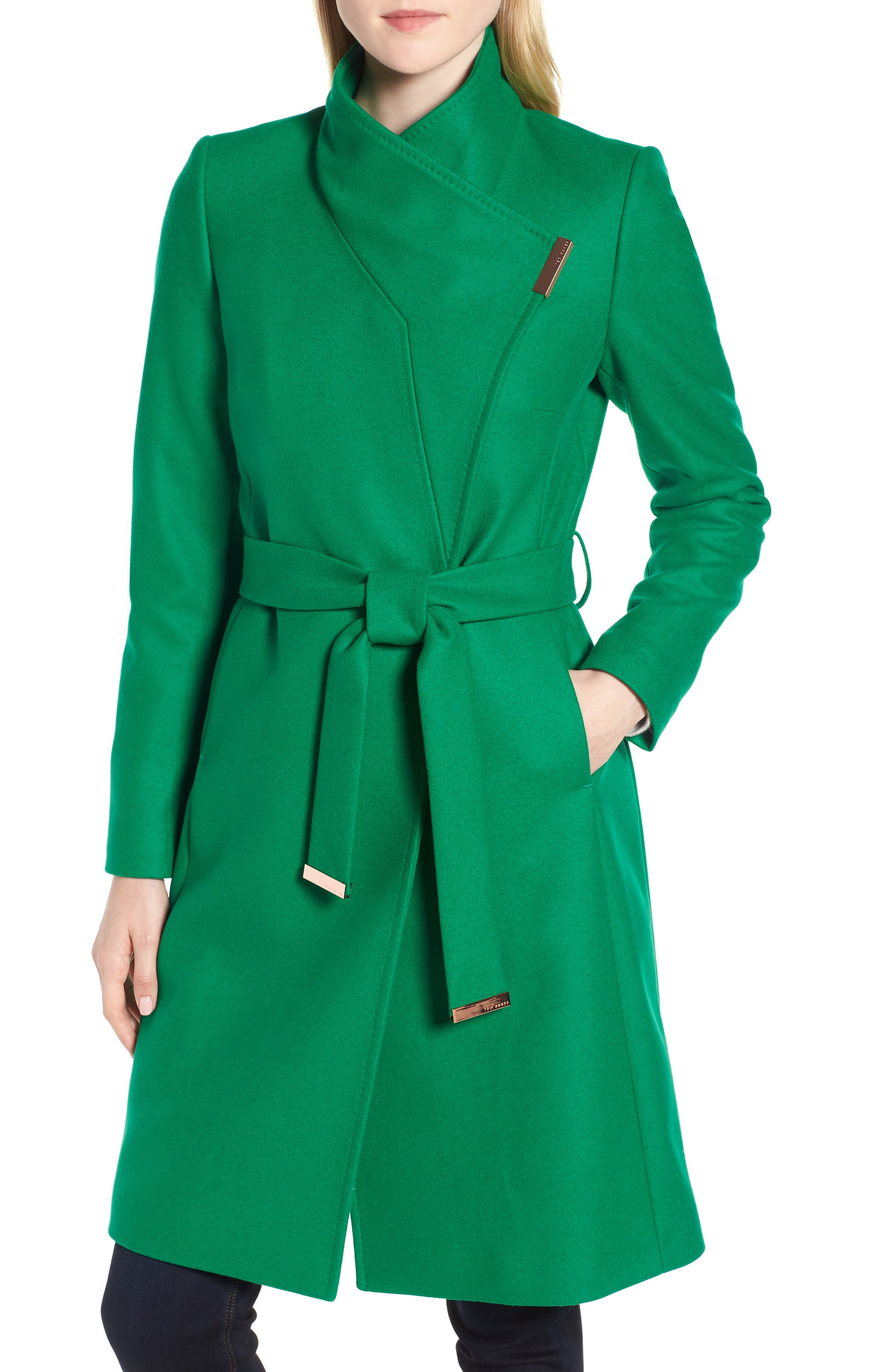 Wool Blend Long Wrap Coat,                         Main,                         color, Bright Green