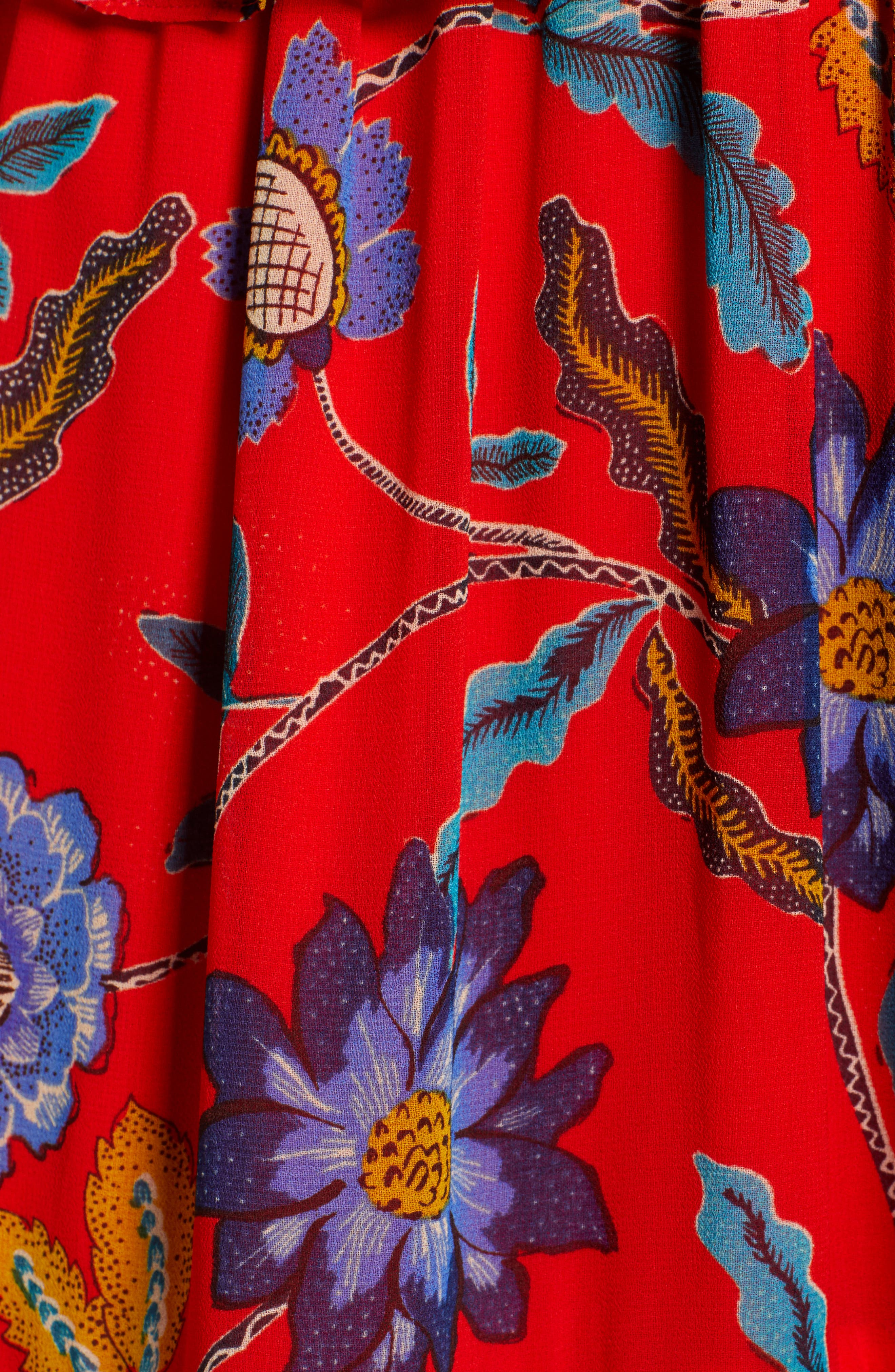 Lucy Floral Dress,                             Alternate thumbnail 5, color,                             Red Multi