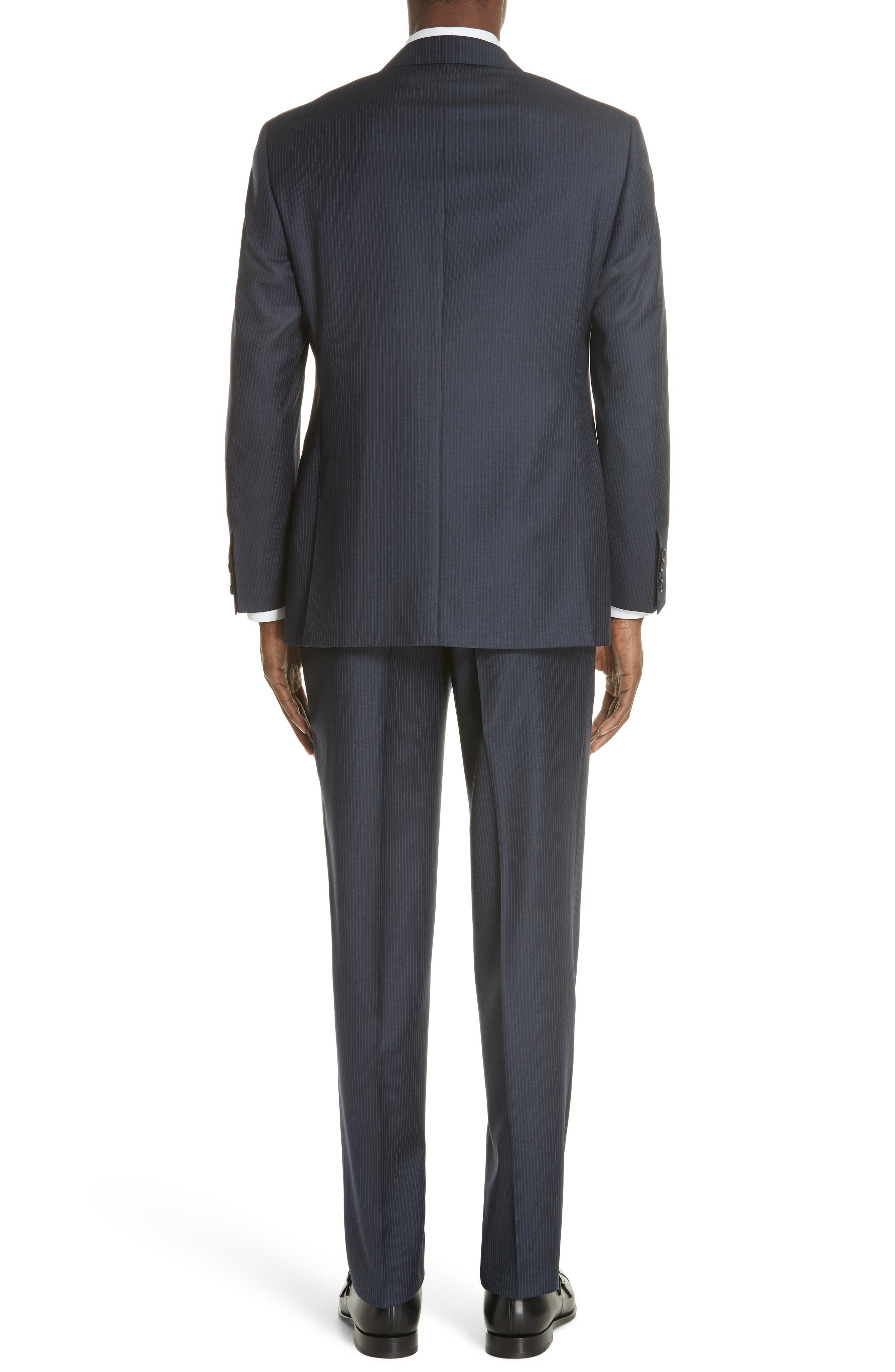 Classic Fit Pinstripe Wool Suit,                             Alternate thumbnail 2, color,                             Navy