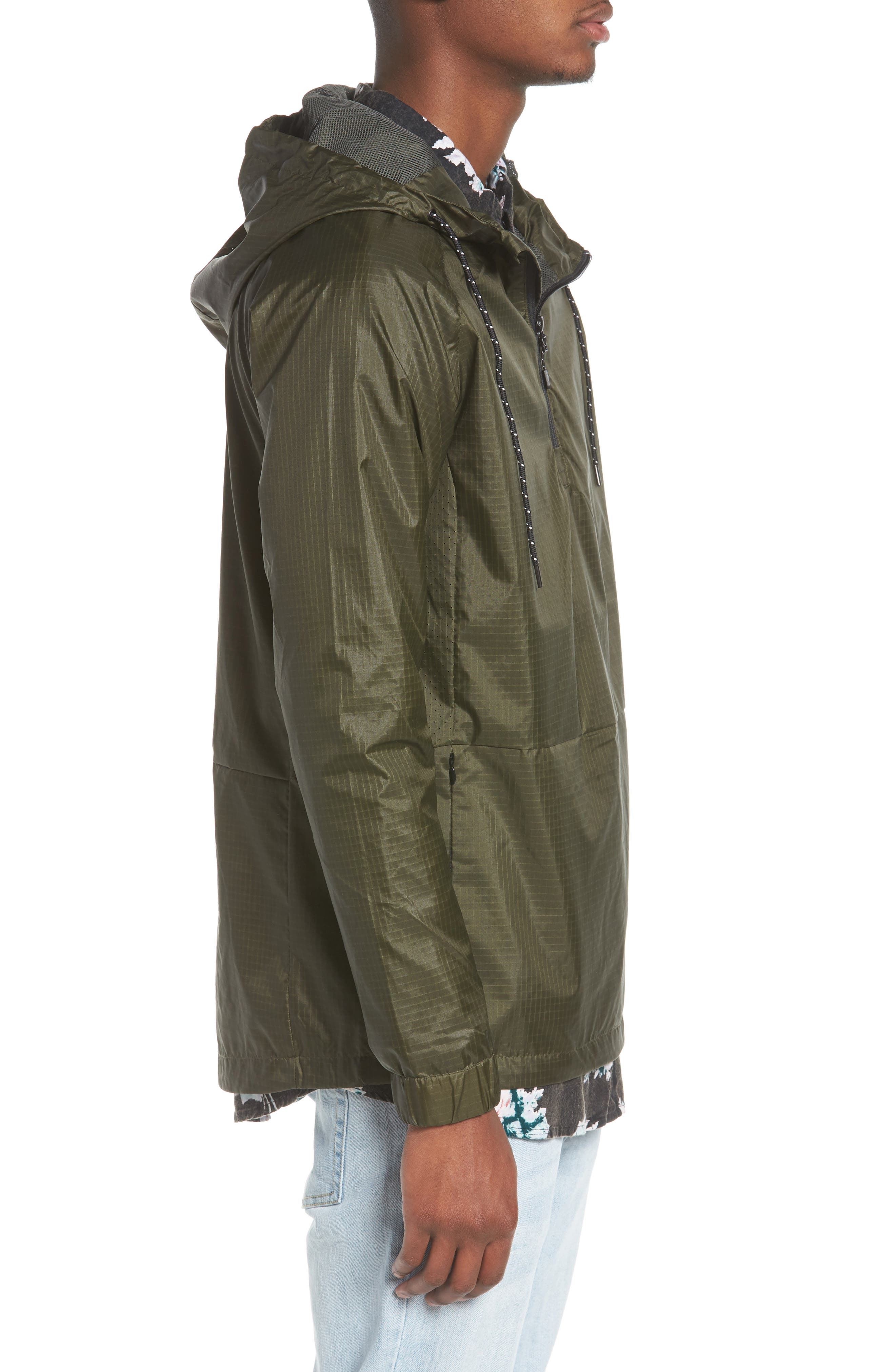 NCT Bezel Packable Anorak,                             Alternate thumbnail 3, color,                             Olive