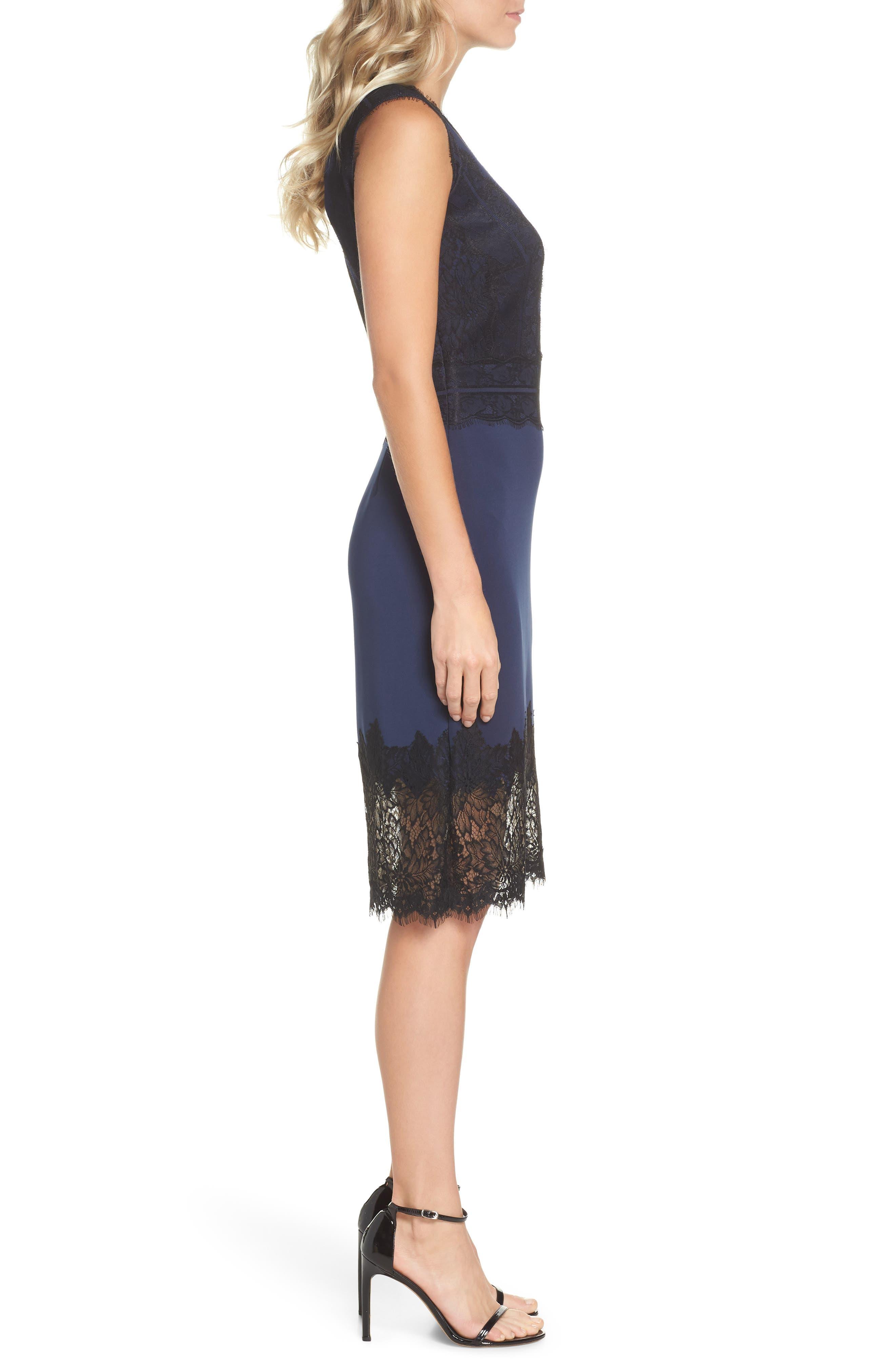 Lace Trim Sheath Dress,                             Alternate thumbnail 3, color,                             Midnight/ Black