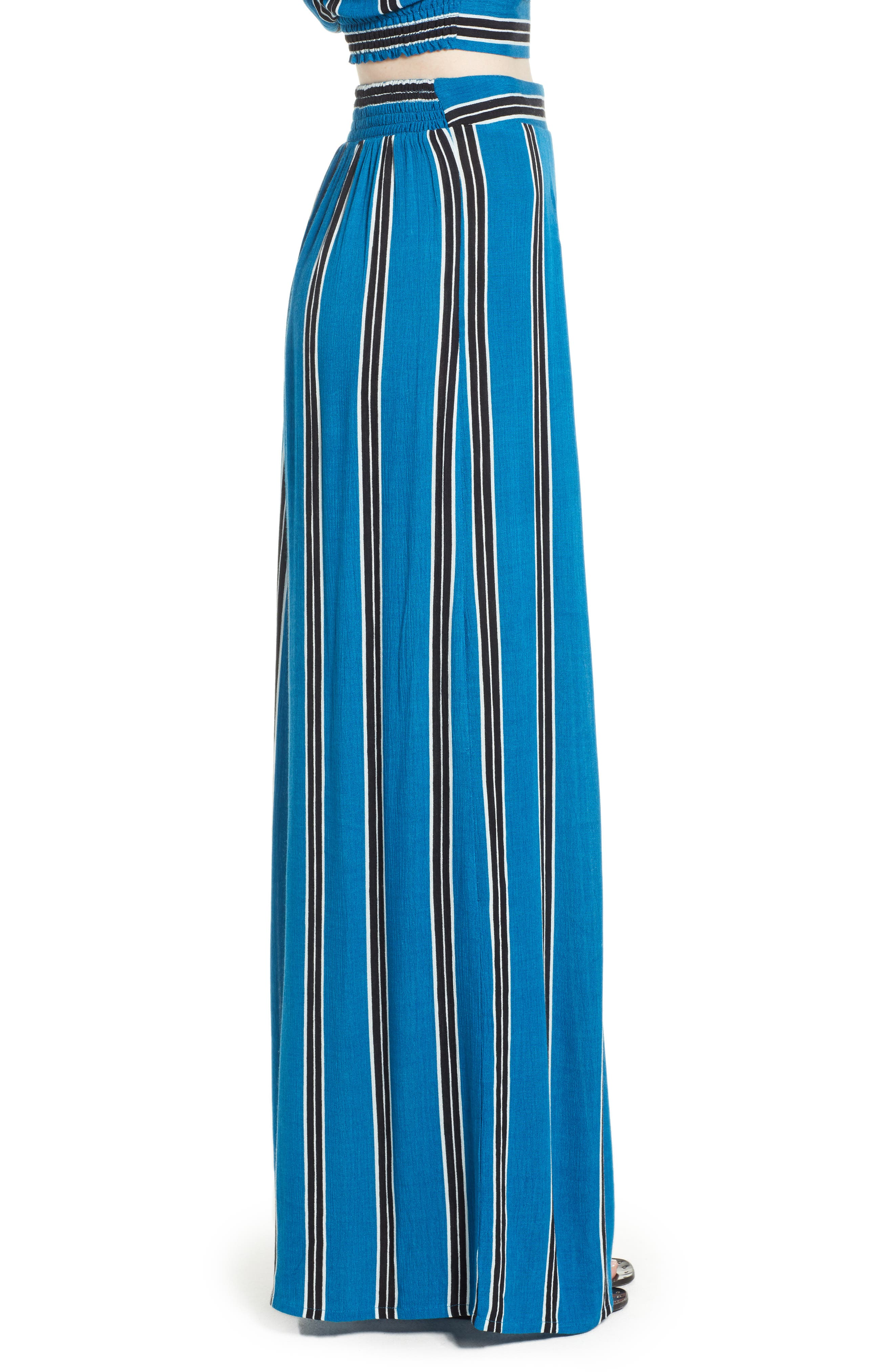 Stripe Wide Leg Pants,                             Alternate thumbnail 4, color,                             Blue/ Black